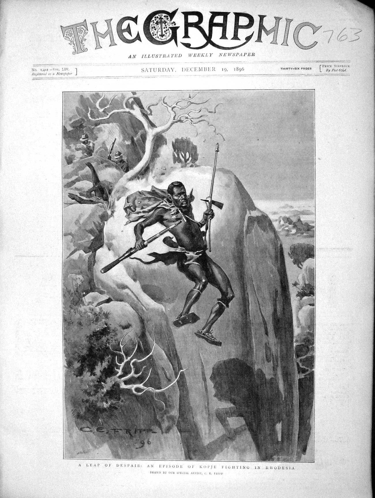 [Print 1896 Leap Of Despair Kopje Fighting Rhodesia Africa Old Original]