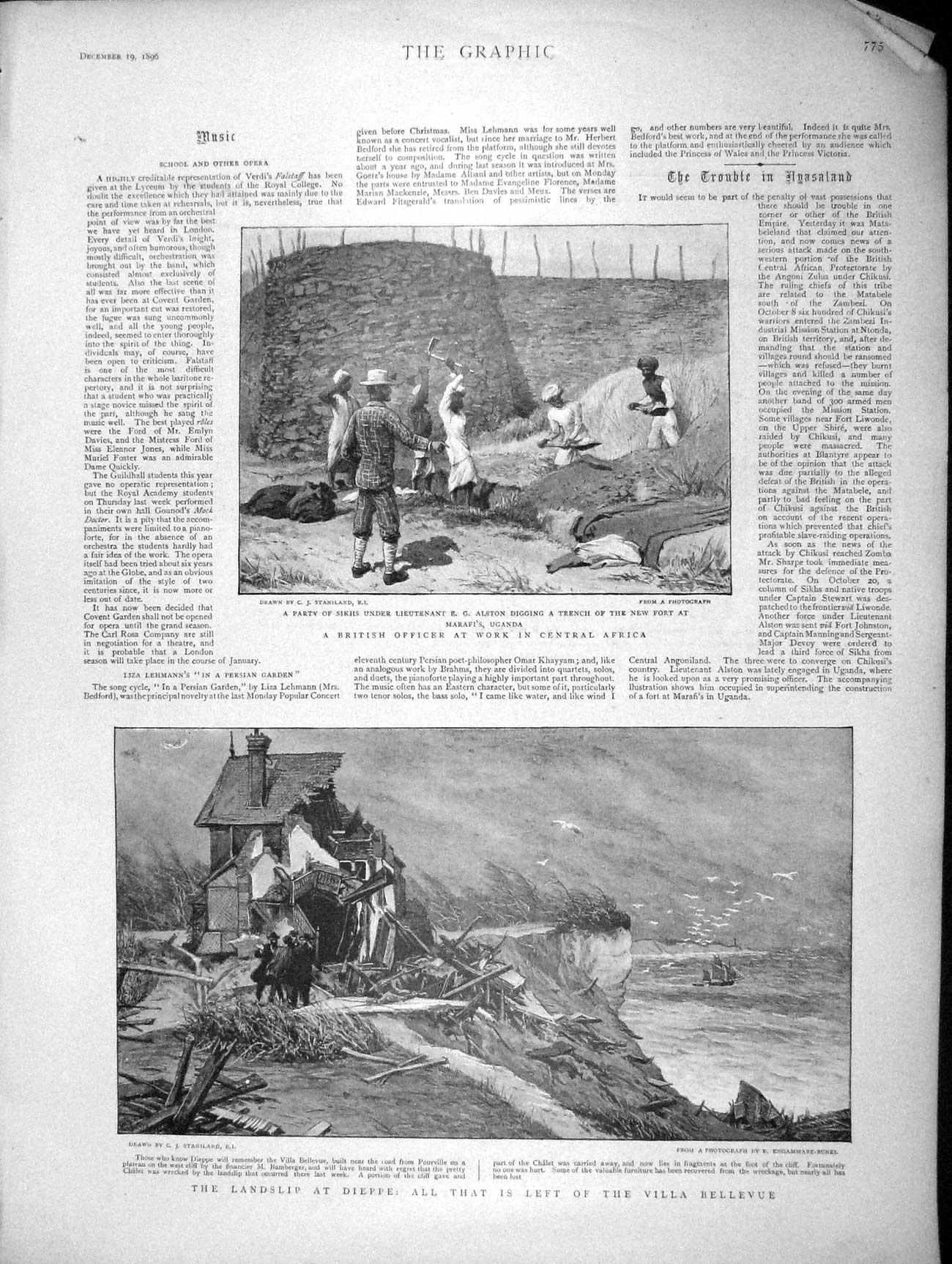 [Print 1896 Africa Alston Fort Uganda Dieppe Countess Oxford 775M154 Old Original]