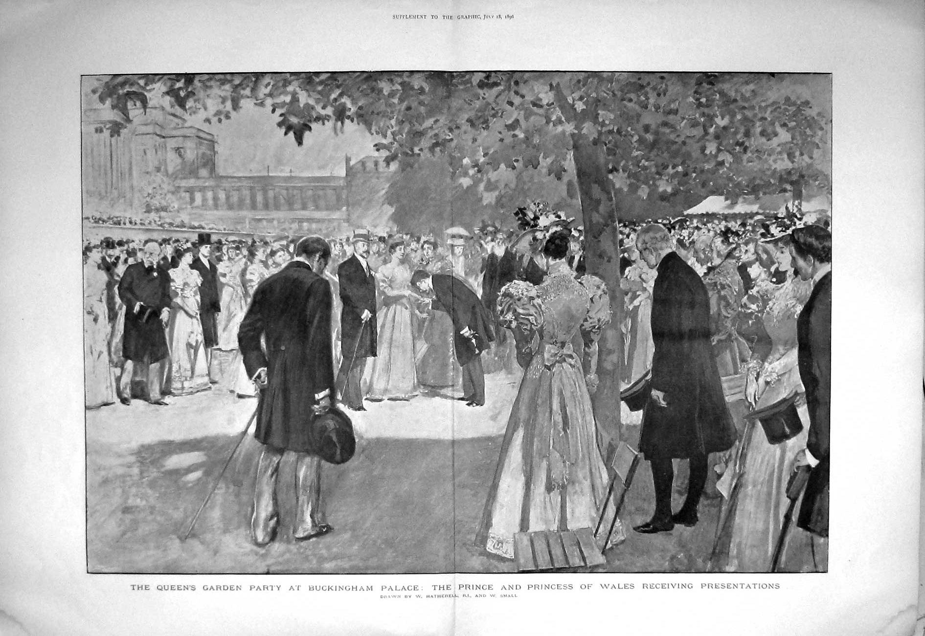 [Print 1896 Queen Garden Party Buckingham Palace Prince Wales 902Tm154 Old Original]