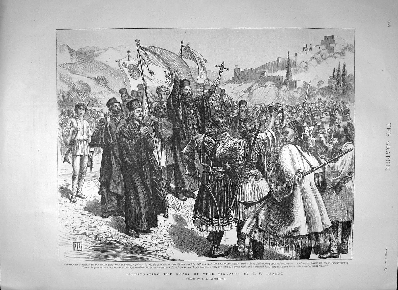 [Print 1897 Illustrating Story Priests Father Andrea 506M156 Old Original]