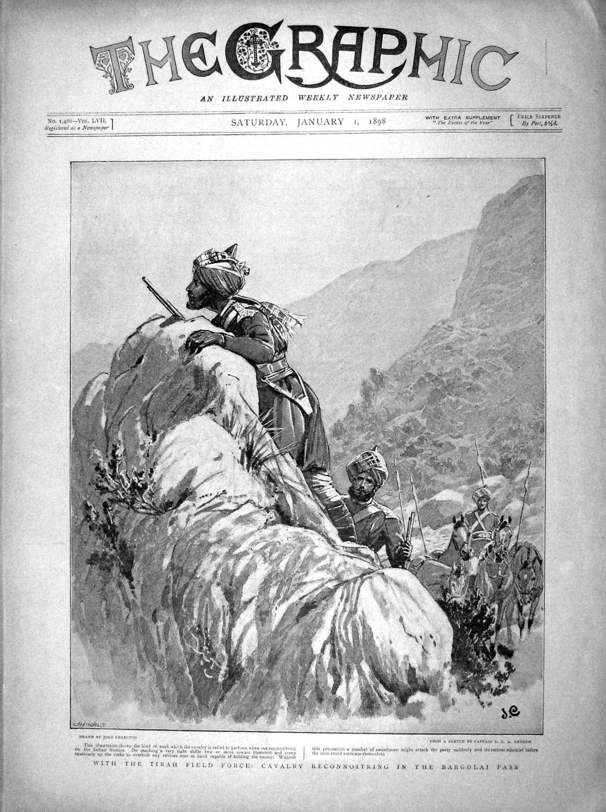 [Print 1898 Tirah Field Force Cavalry Bargolai Pass Soldiers 001M157 Old Original]