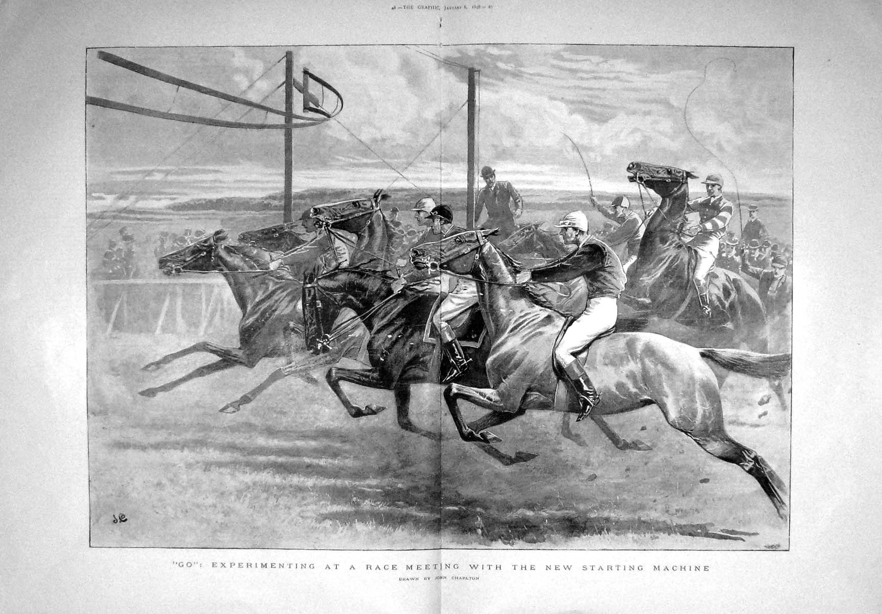 [Print 1898 Horse Race Meeting Experiment Starting Machine 047Tm157 Old Original]