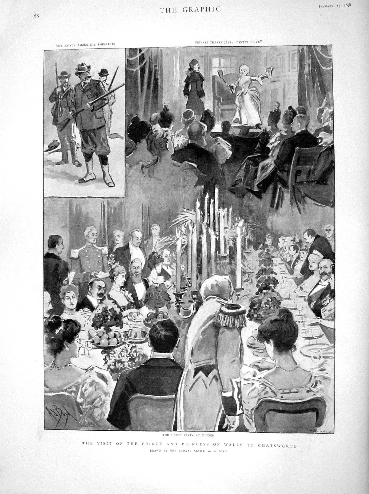 [Print 1898 Prince Wales Chatsworth House Party Dinner Scene 068M157 Old Original]