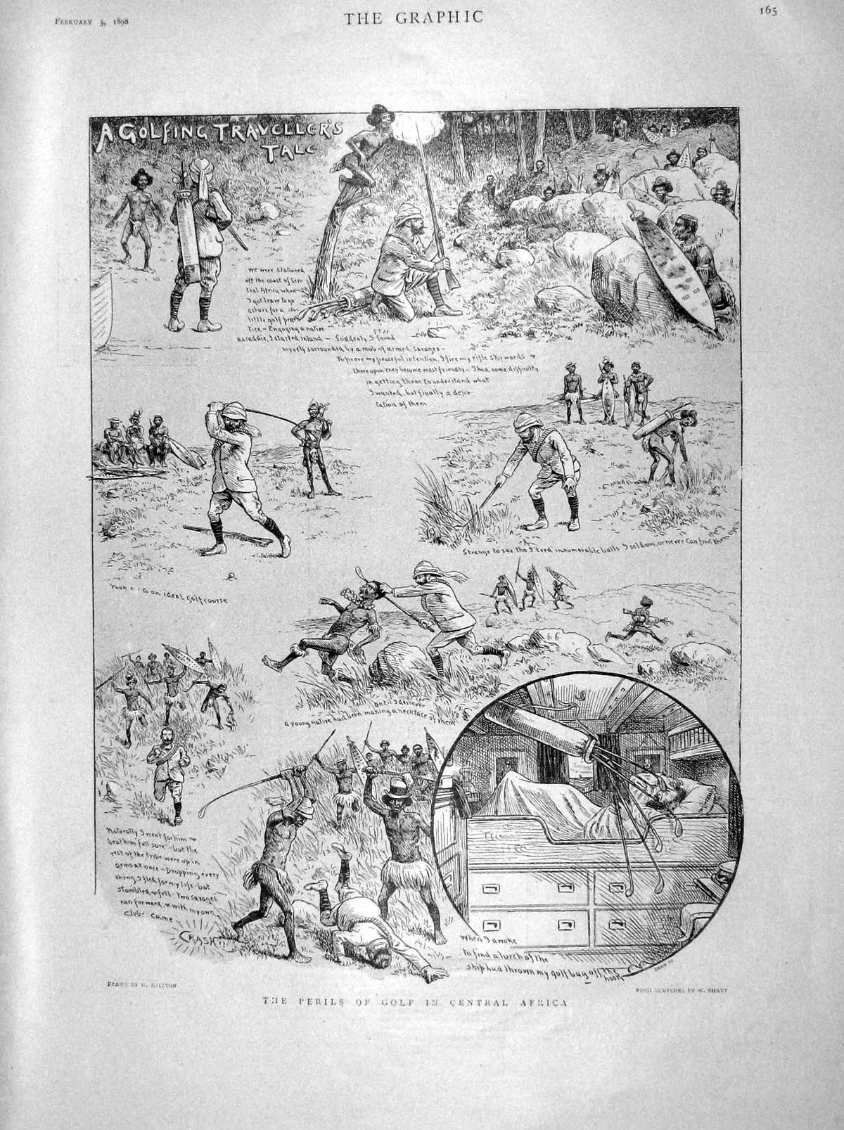 [Print 1898 Perils Golf Africa Sport Natives Comedy Scene 165M157 Old Original]