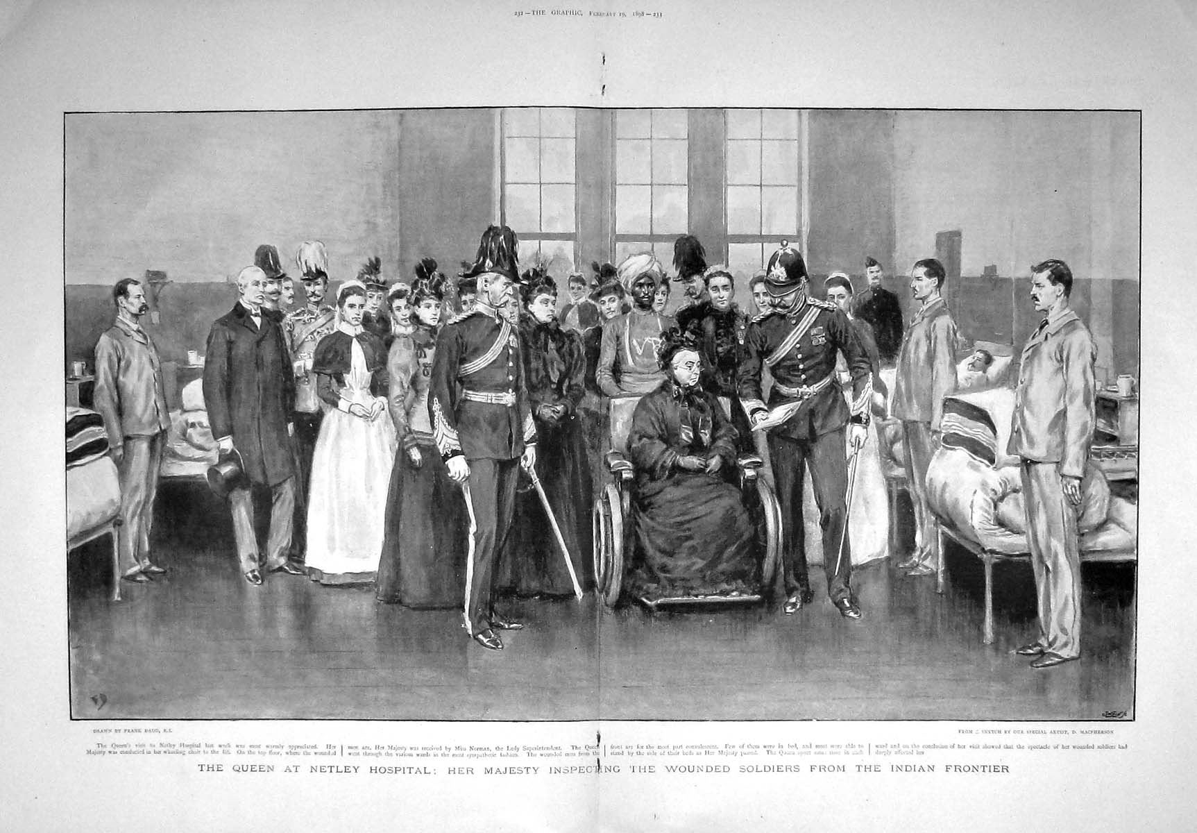 [Print *3292 1898 Queen Netley Hospital Wounded Soldiers Indian War 231Tm157 Old Original]