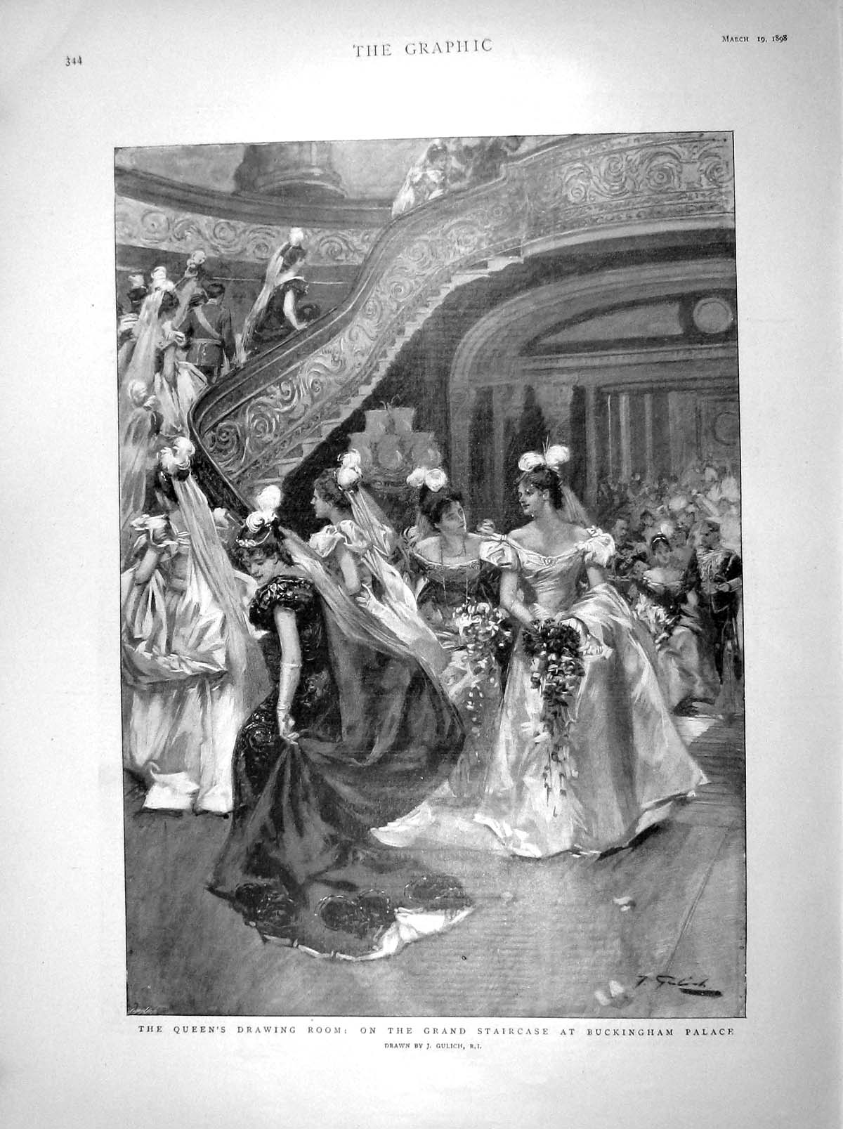 [Print 1898 Queen Drawing Room Staircase Buckingham Palace 344M157 Old Original]