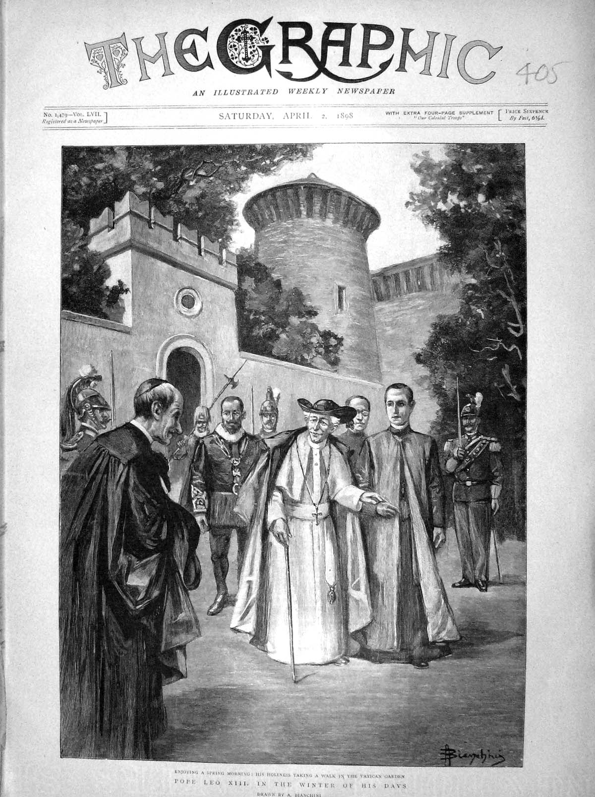 [Print 1898 Holiness Pope Leo Xiii Vatican Garden Rome Italy 405M157 Old Original]