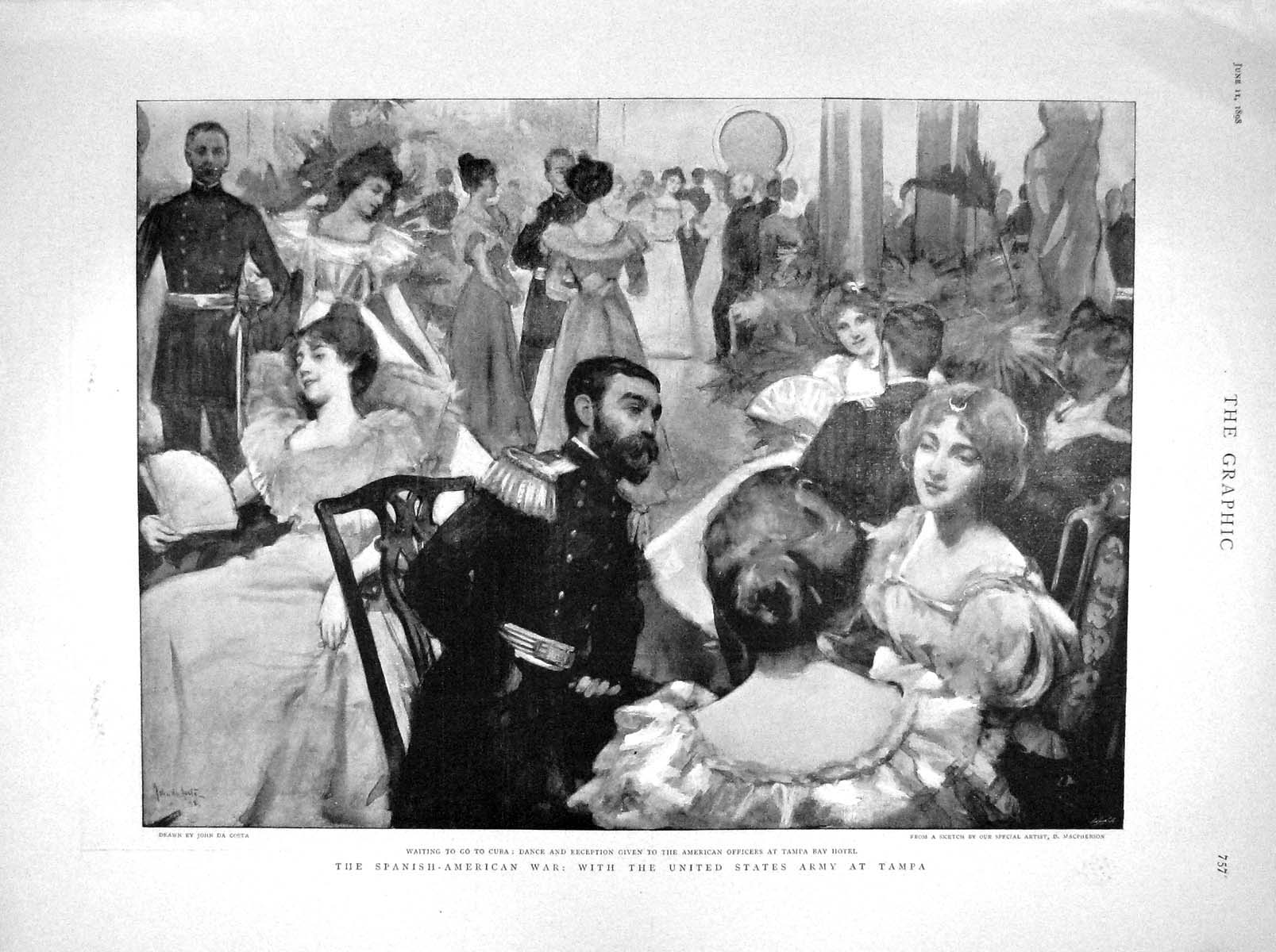 [Print 1898 Cuba War Dance Tampa Hotel Ship Merrimac Alabama 757M157 Old Original]