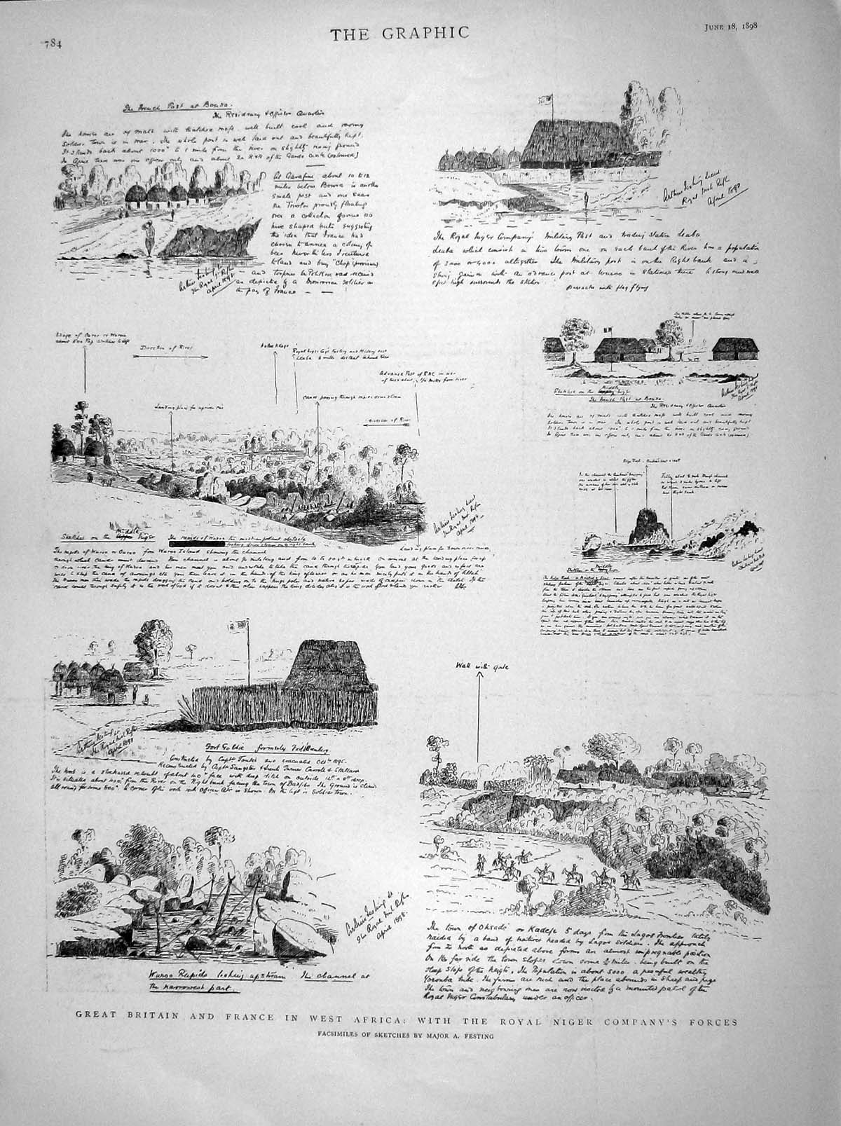 [Print 1898 British French Army Africa War Royal Niger Forces 784M157 Old Original]