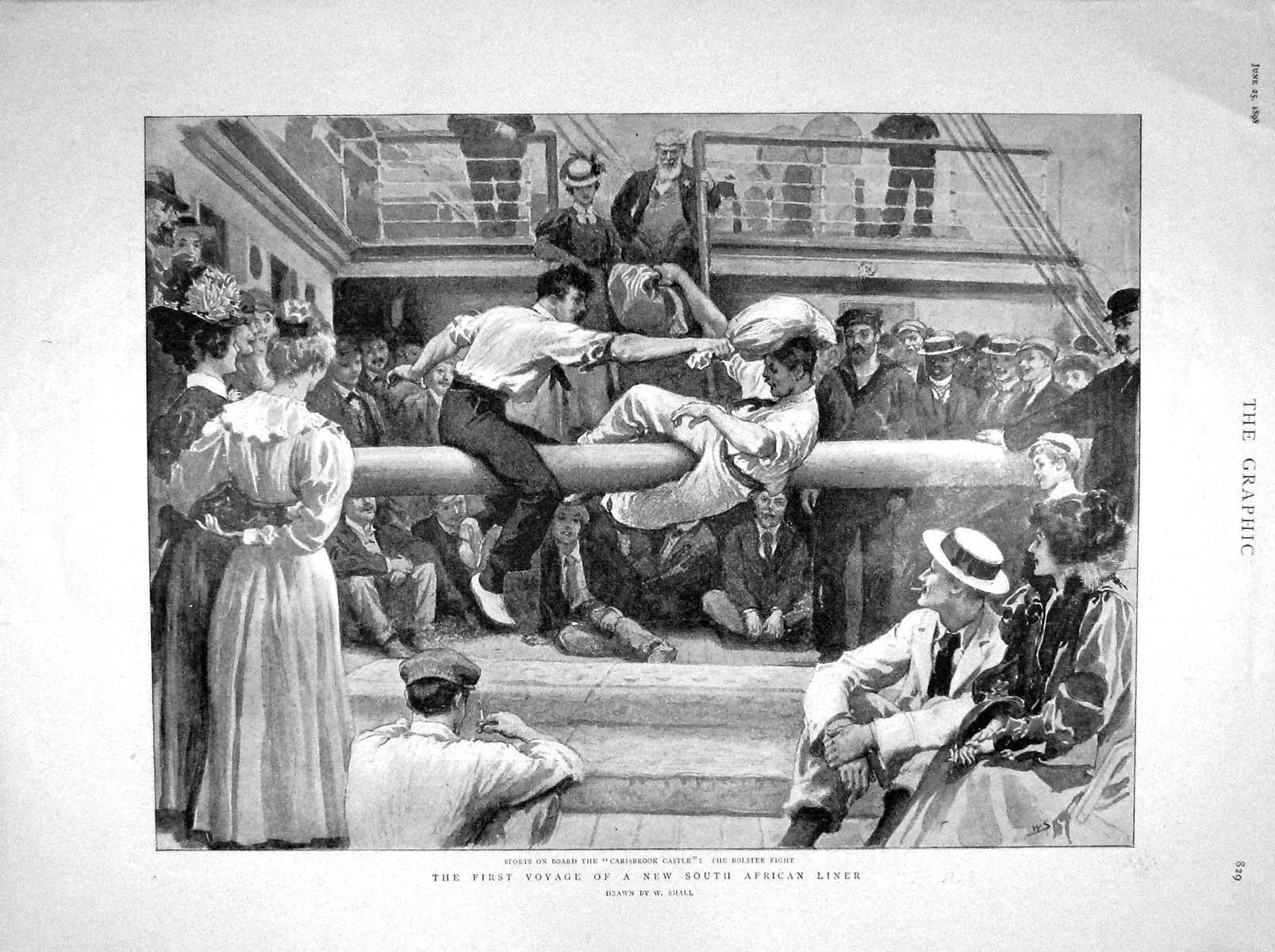 [Print 1898 Ship Sports Carisbrook Castle Africa Bernhardt 829M157 Old Original]
