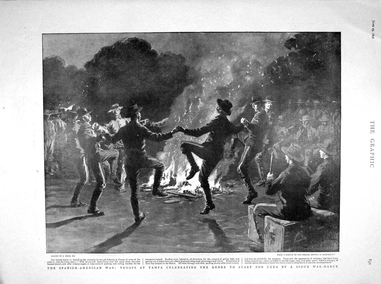 [Print 1898 War Army Tampa Cuba Sioux War-Dance Queen Balmoral 831M157 Old Original]
