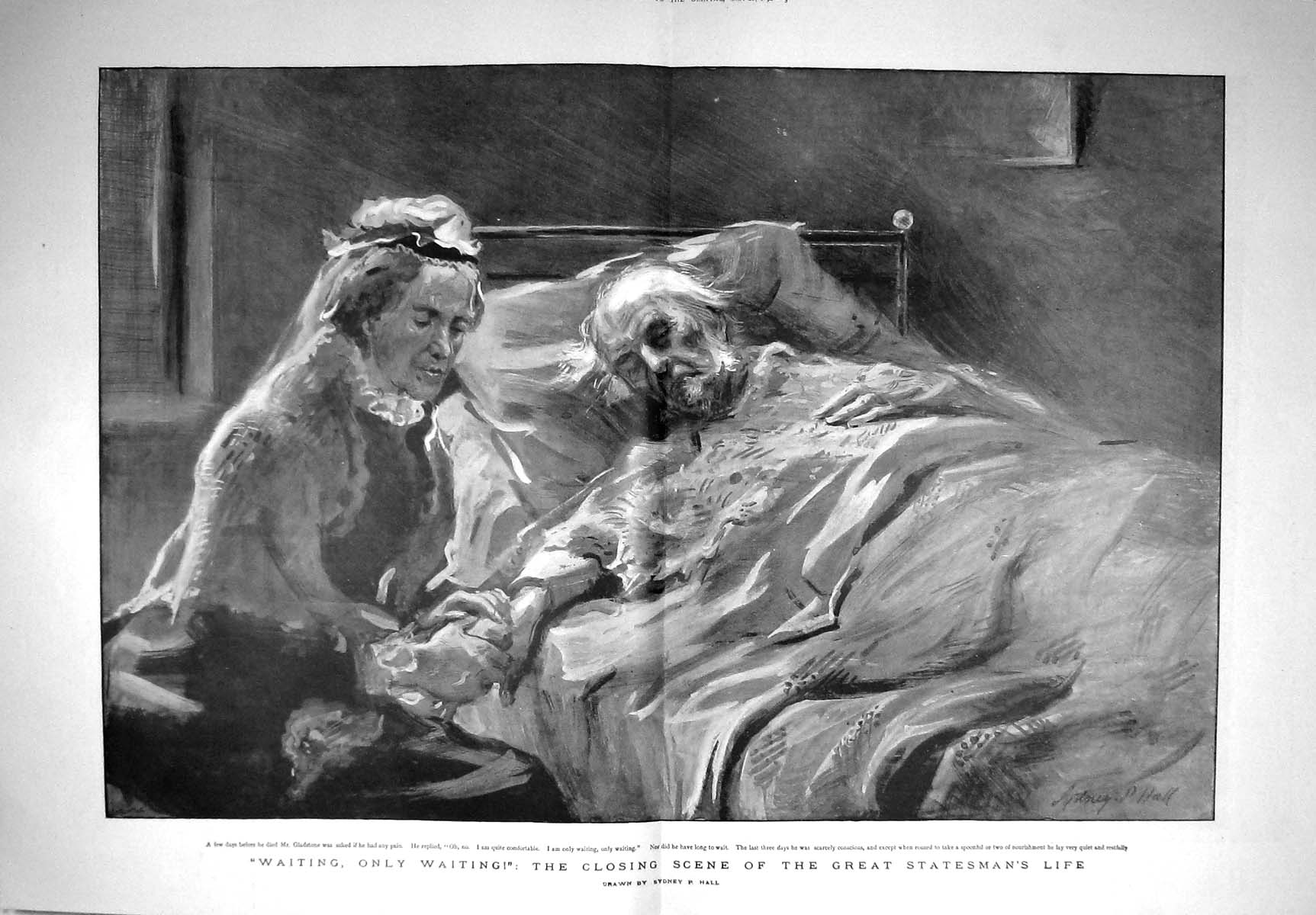 [Print 1898 Great Statesman Mr Gladstone Death Bed Nurse 901Tm157 Old Original]