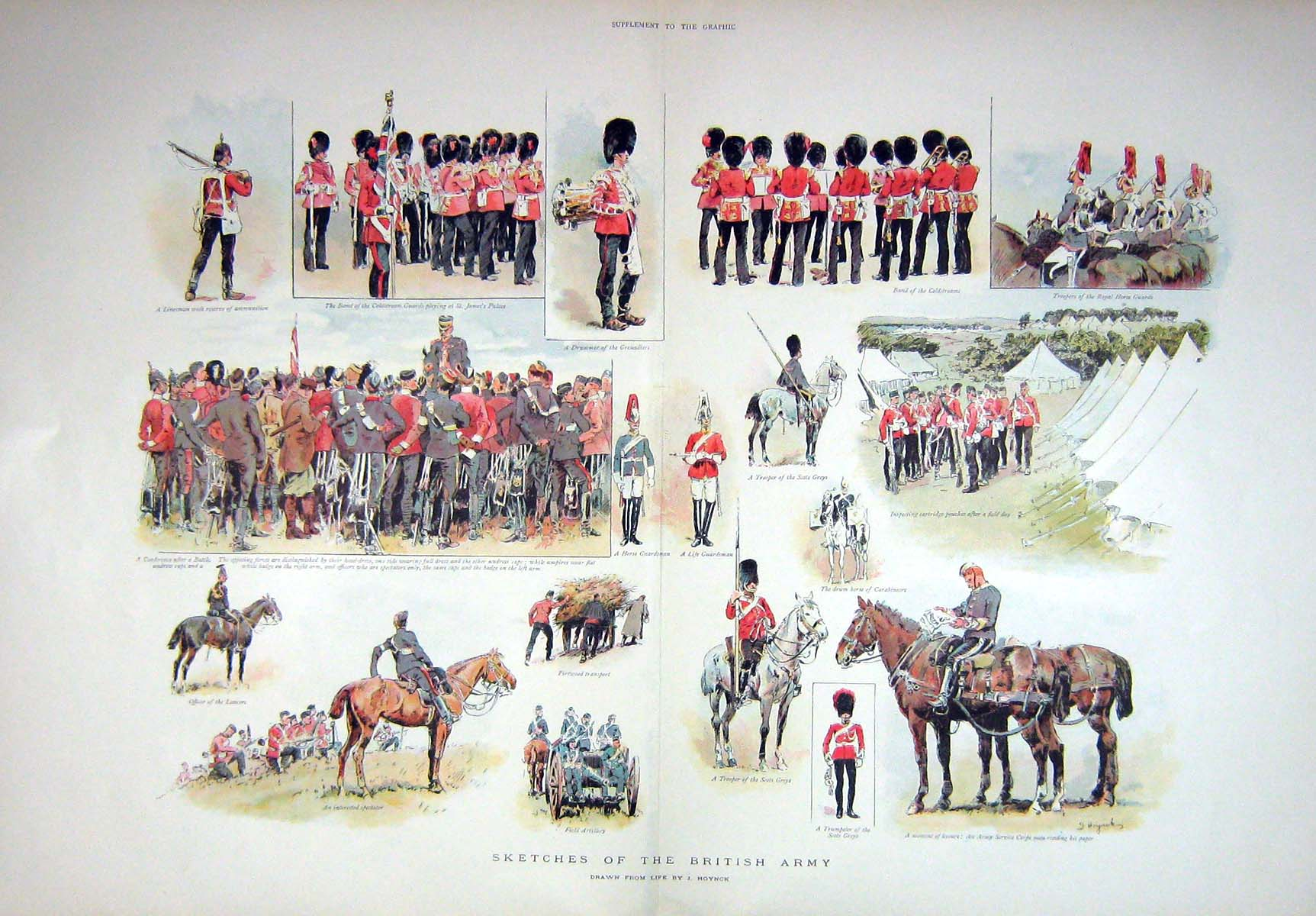 [Print 1898 British Army Scots Greys Field Artillery Horses 904Tm157 Old Original]