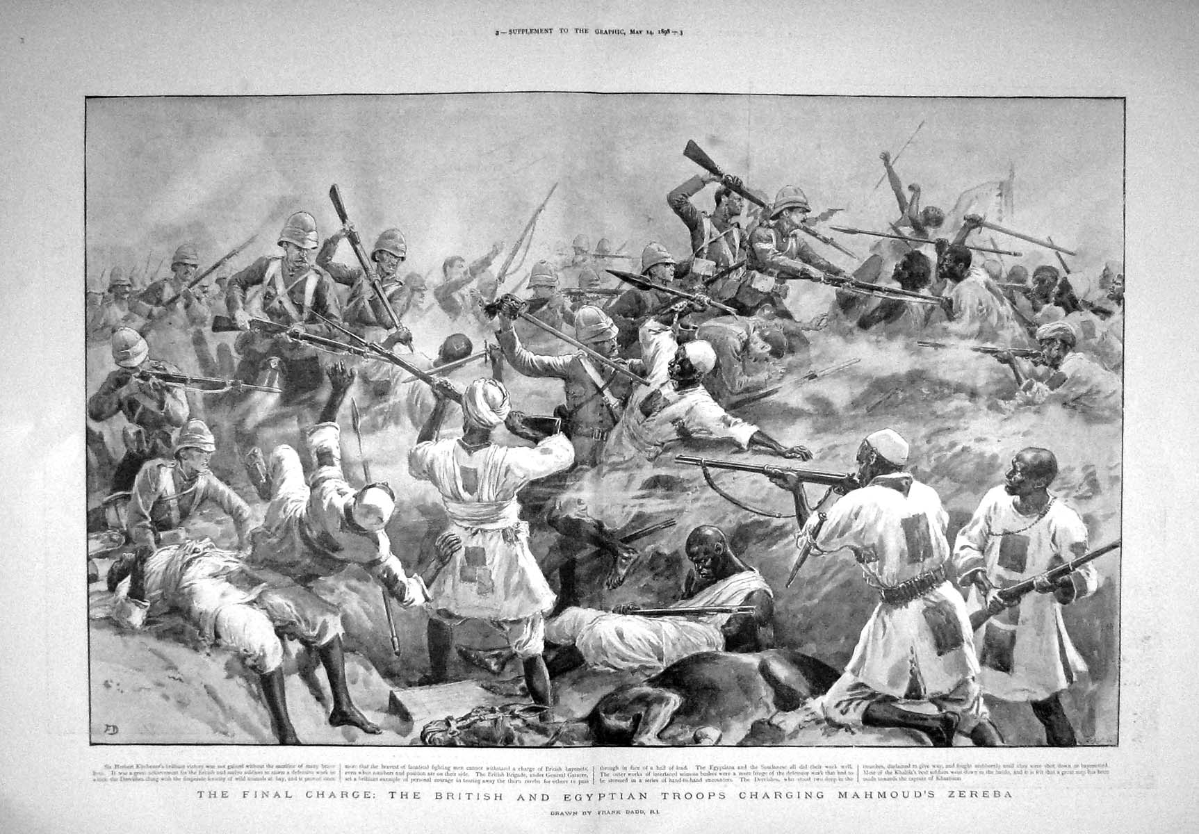 [Print 1898 British Agyptian Troops Charging Mahmoud Zereba 906Tm157 Old Original]