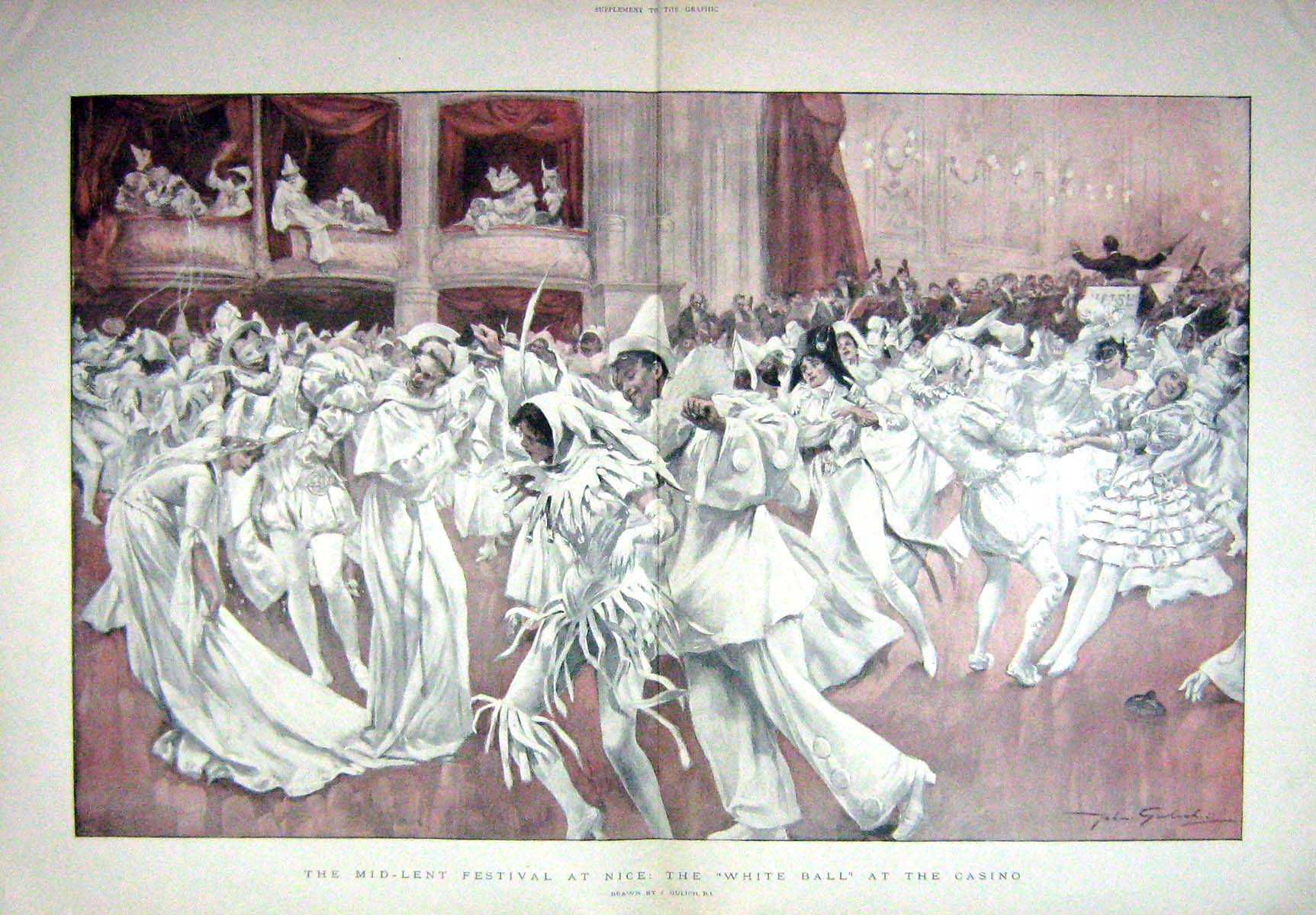 [Print 1898 Mid-Lent Festival White Ball Casino Nice France 908Tm157 Old Original]