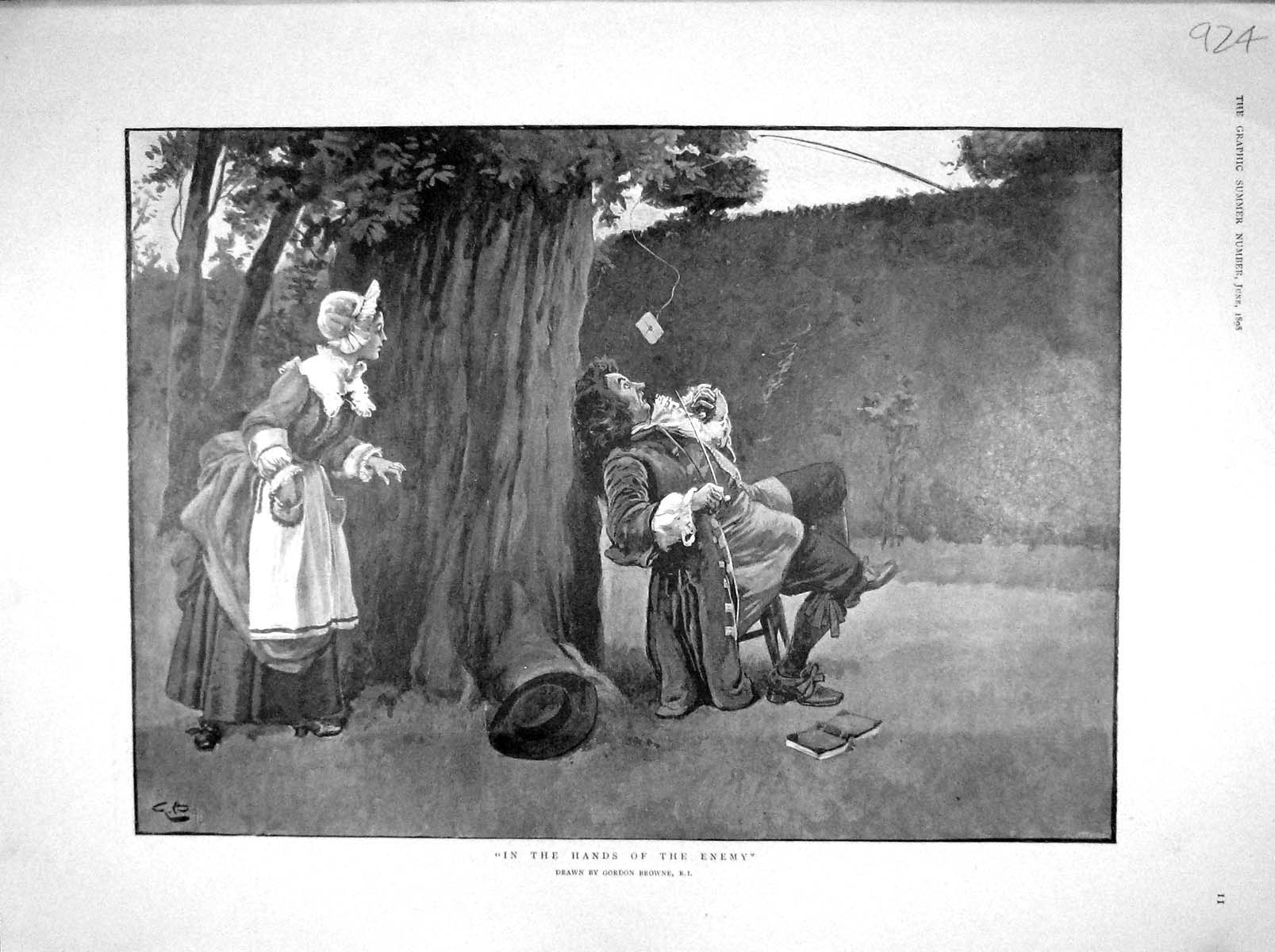[Print 1898 Man Lady Garden Comedy Fishing Rod Romance River 924M157 Old Original]