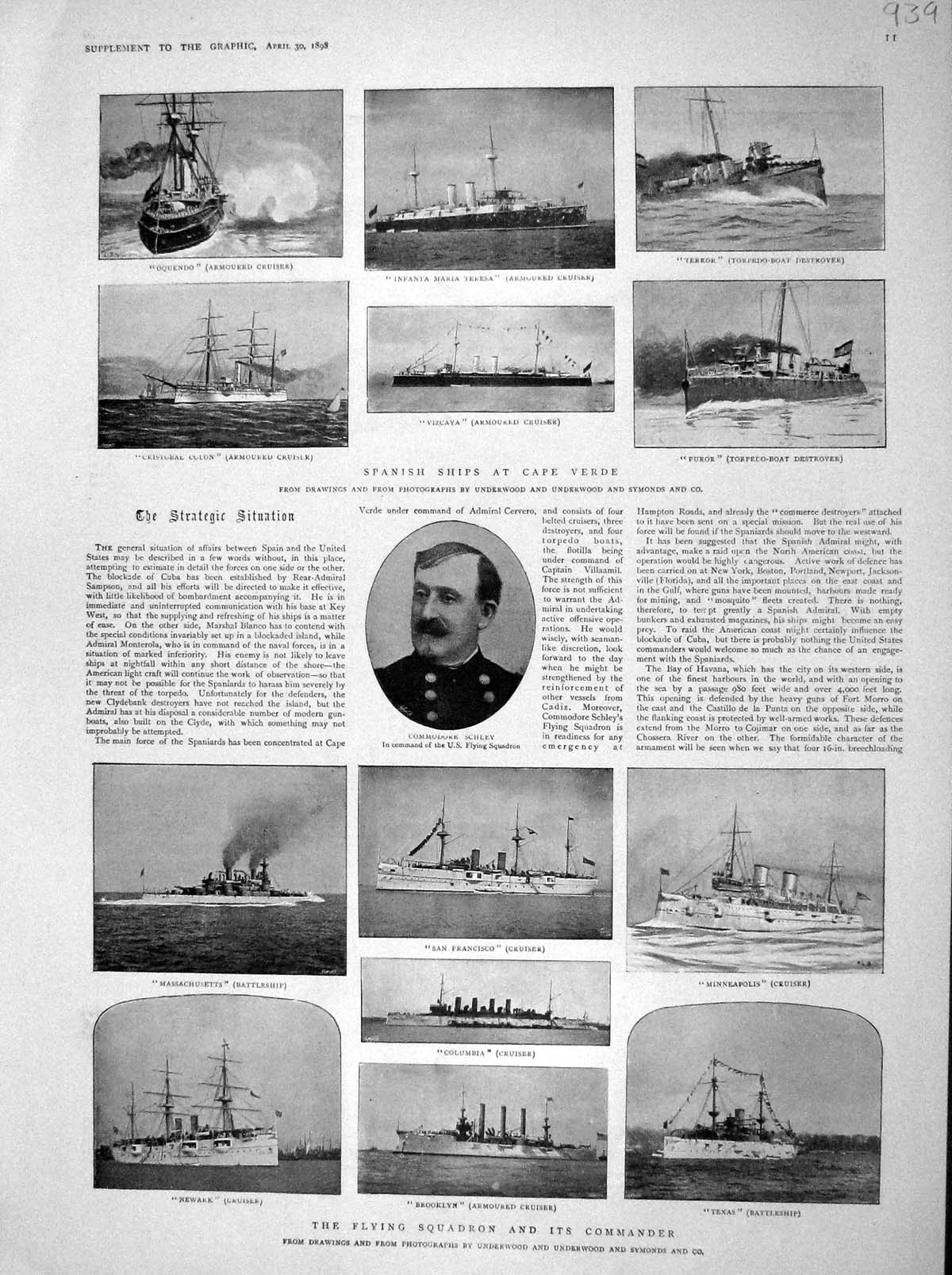 [Print 1898 Schley Ships War Texas Furor Columbia Map Havana 939M157 Old Original]