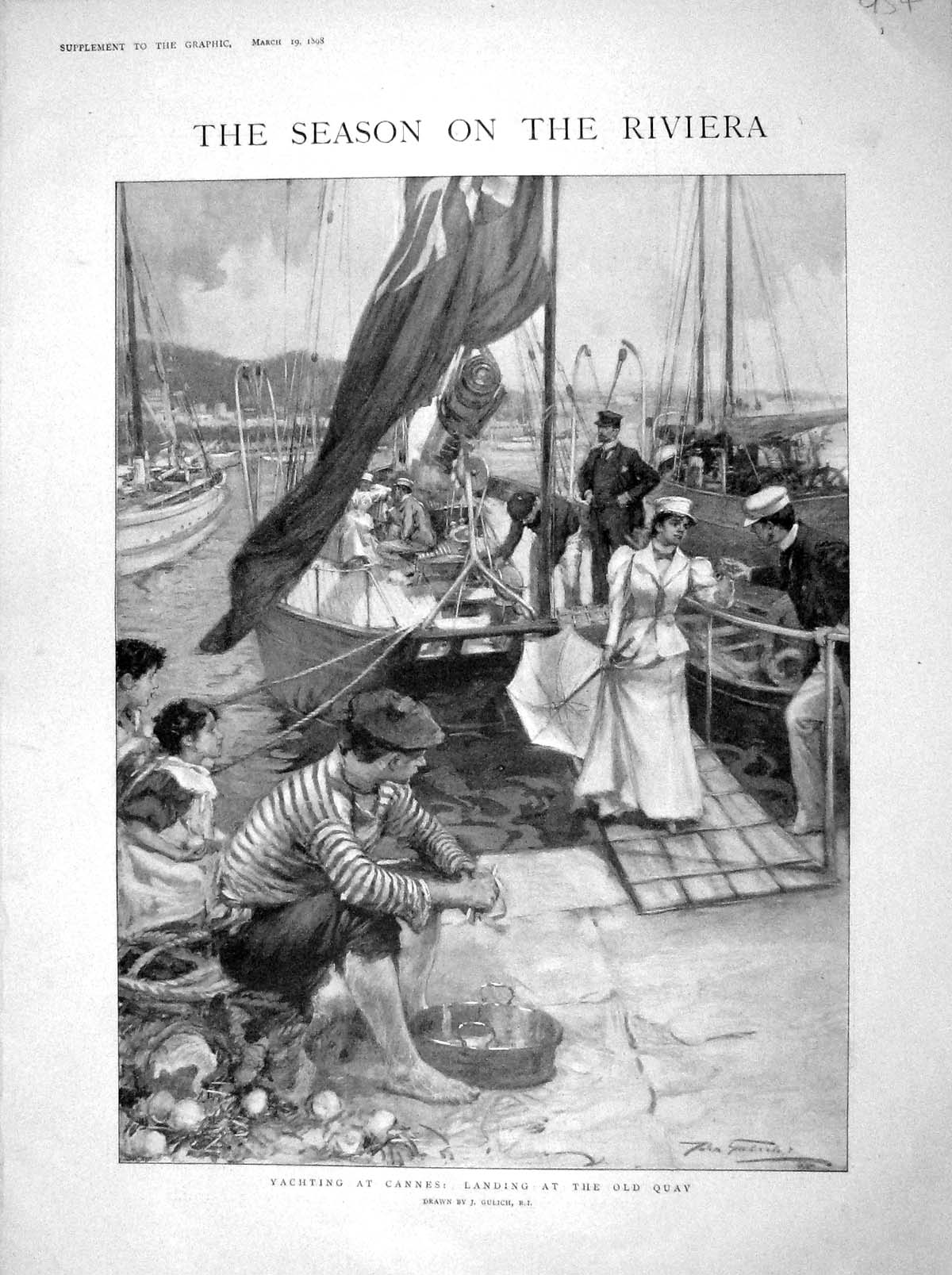 [Print 1898 Yachting Cannes Quay France Prince Wales Lambert 954M157 Old Original]