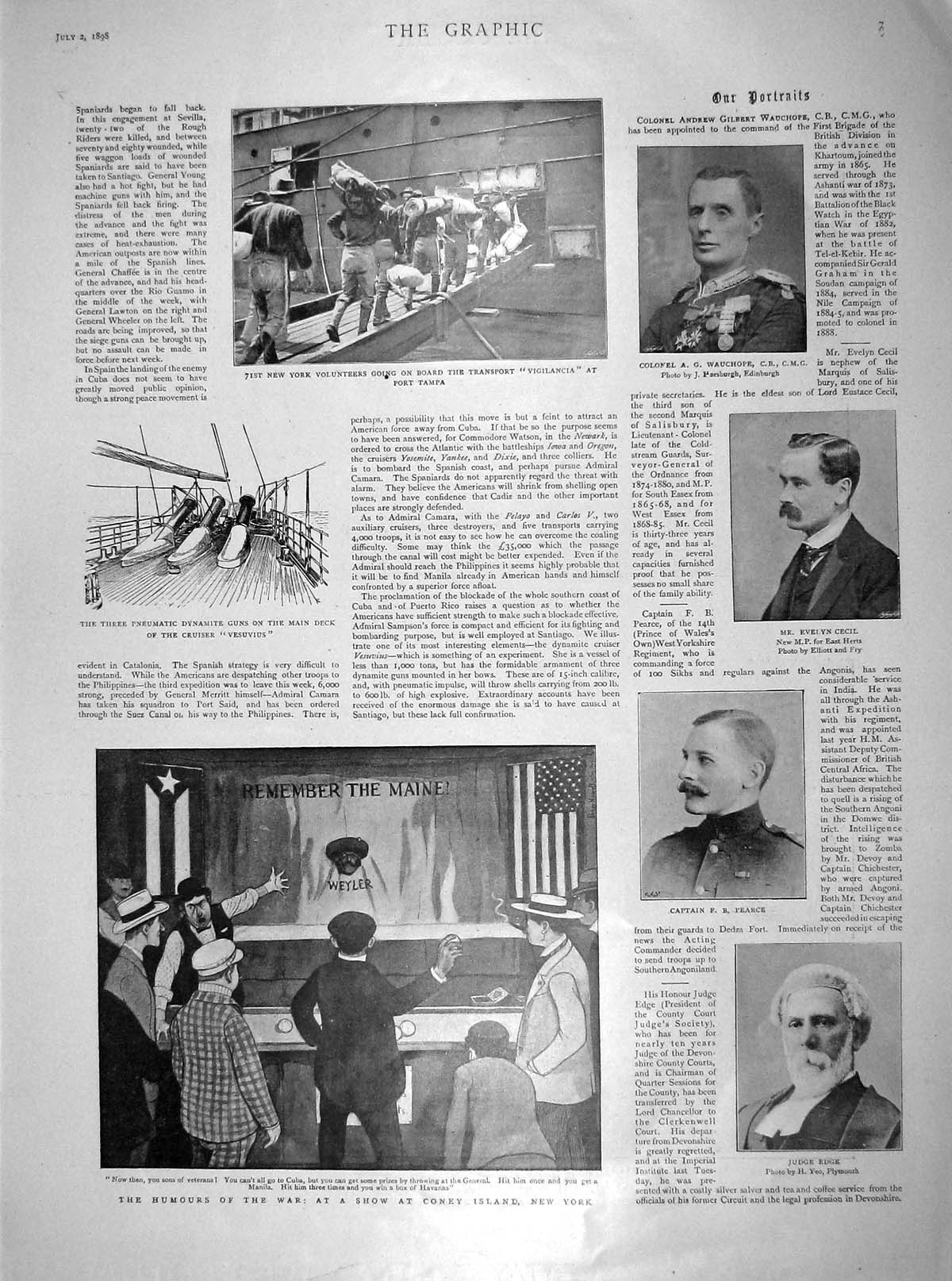 [Print 1898 Coney Island War Edge Cecil Tampa Cathedral Dean 007M158 Old Original]
