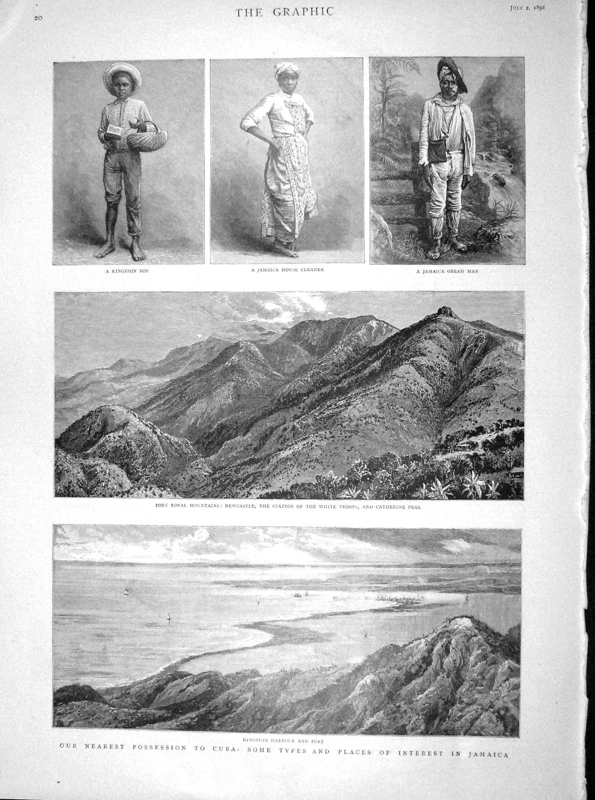 [Print 1898 Jamaica Kingston Port Mountains Kennel Club Dogs 020M158 Old Original]