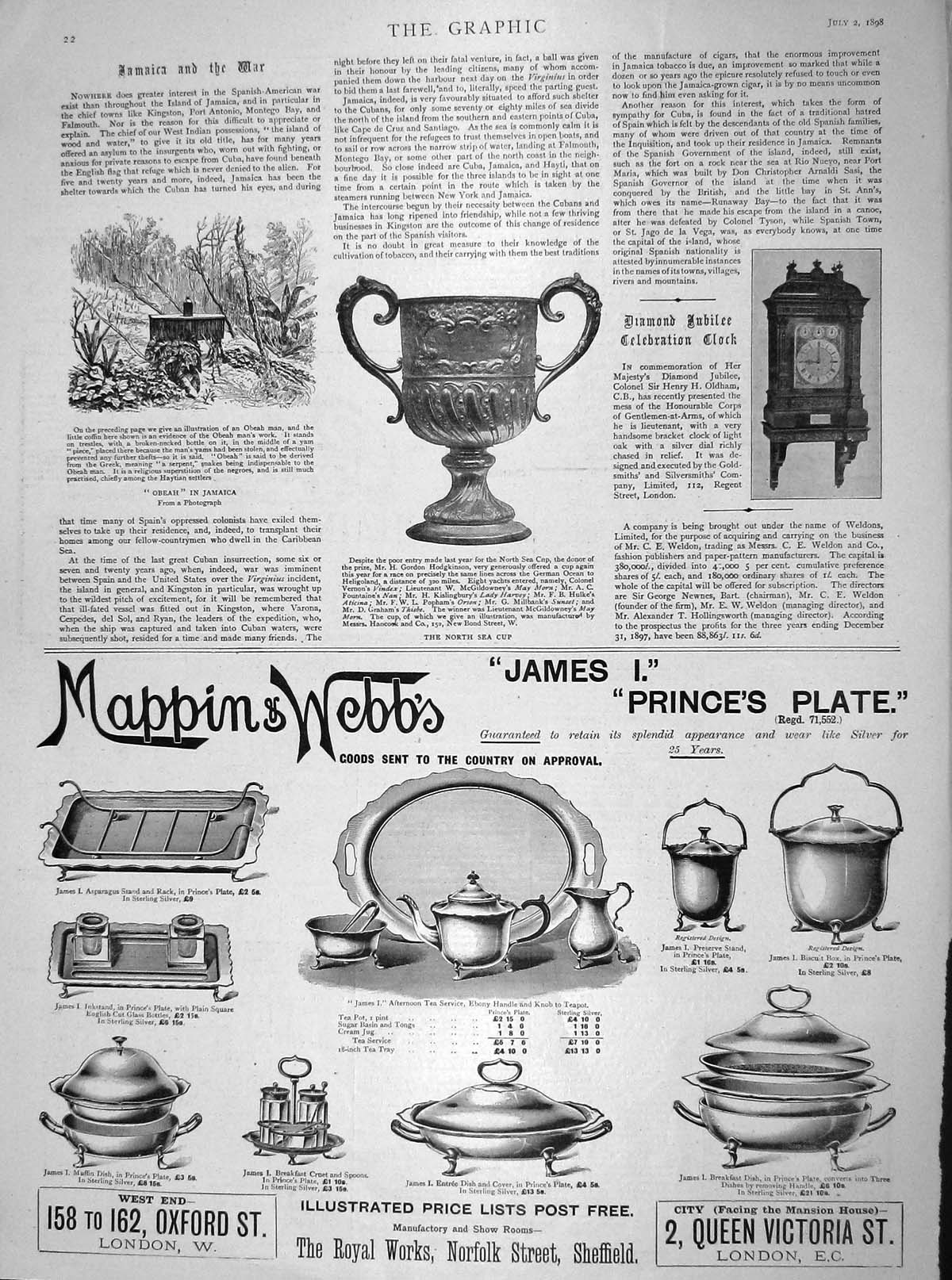 [Print 1898 North Sea Cup Jubilee Clock Obeah Jamaica Mappin 022M158 Old Original]