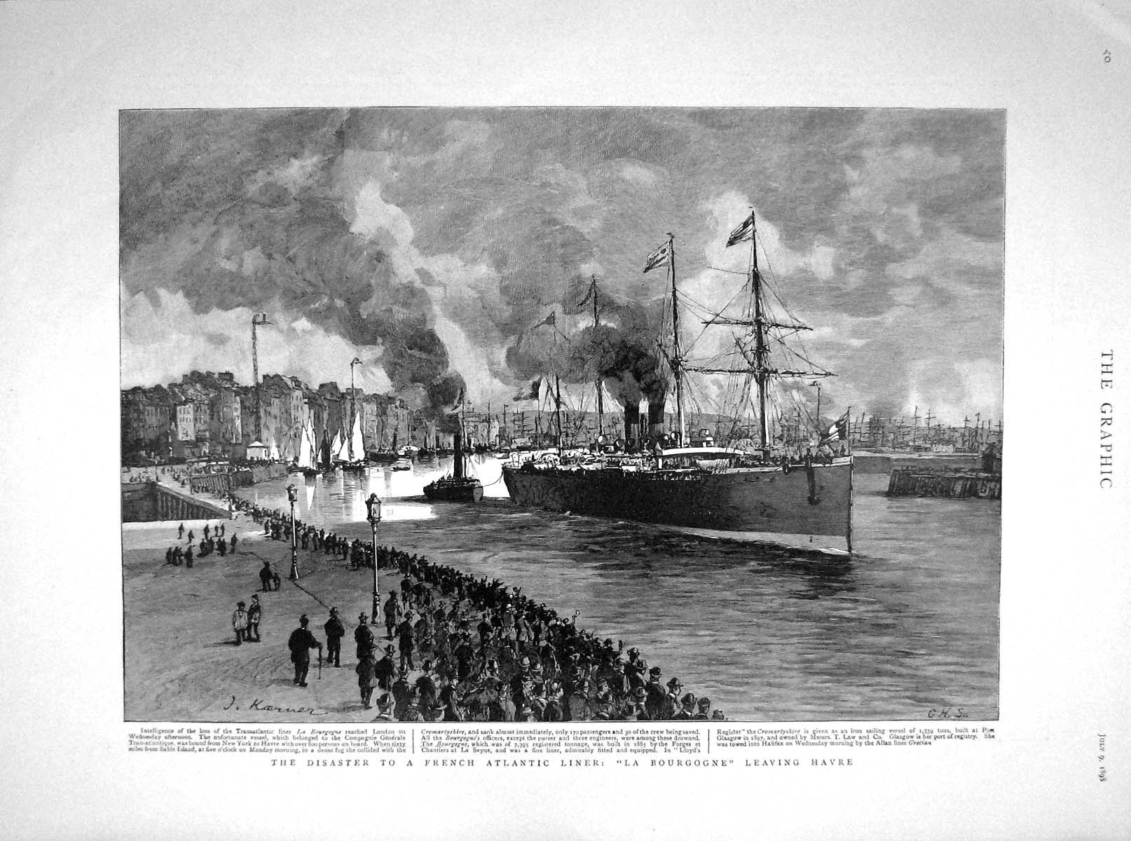 [Print 1898 French Liner Ship Bourgogne Havre Sampson St. Paul 040M158 Old Original]