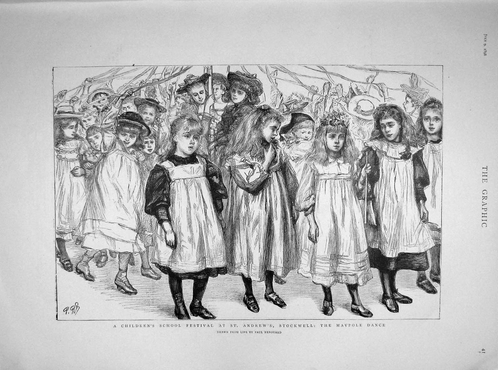 [Print 1898 Children School Festival Stockwell Maypole Theatre 041M158 Old Original]