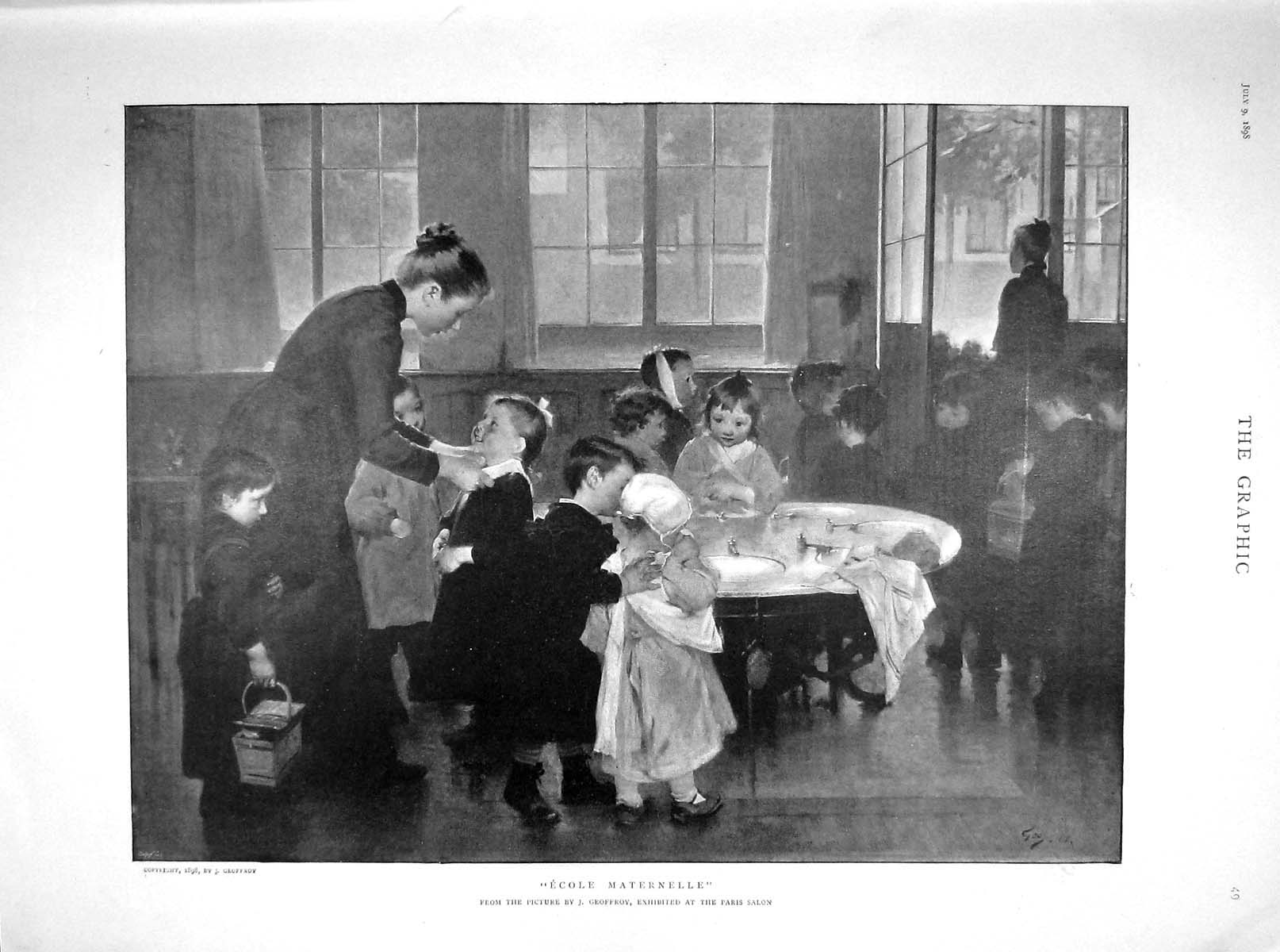 [Print 1898 Ecole Maternelle Children Baiquiri Linares Shafter 049M158 Old Original]
