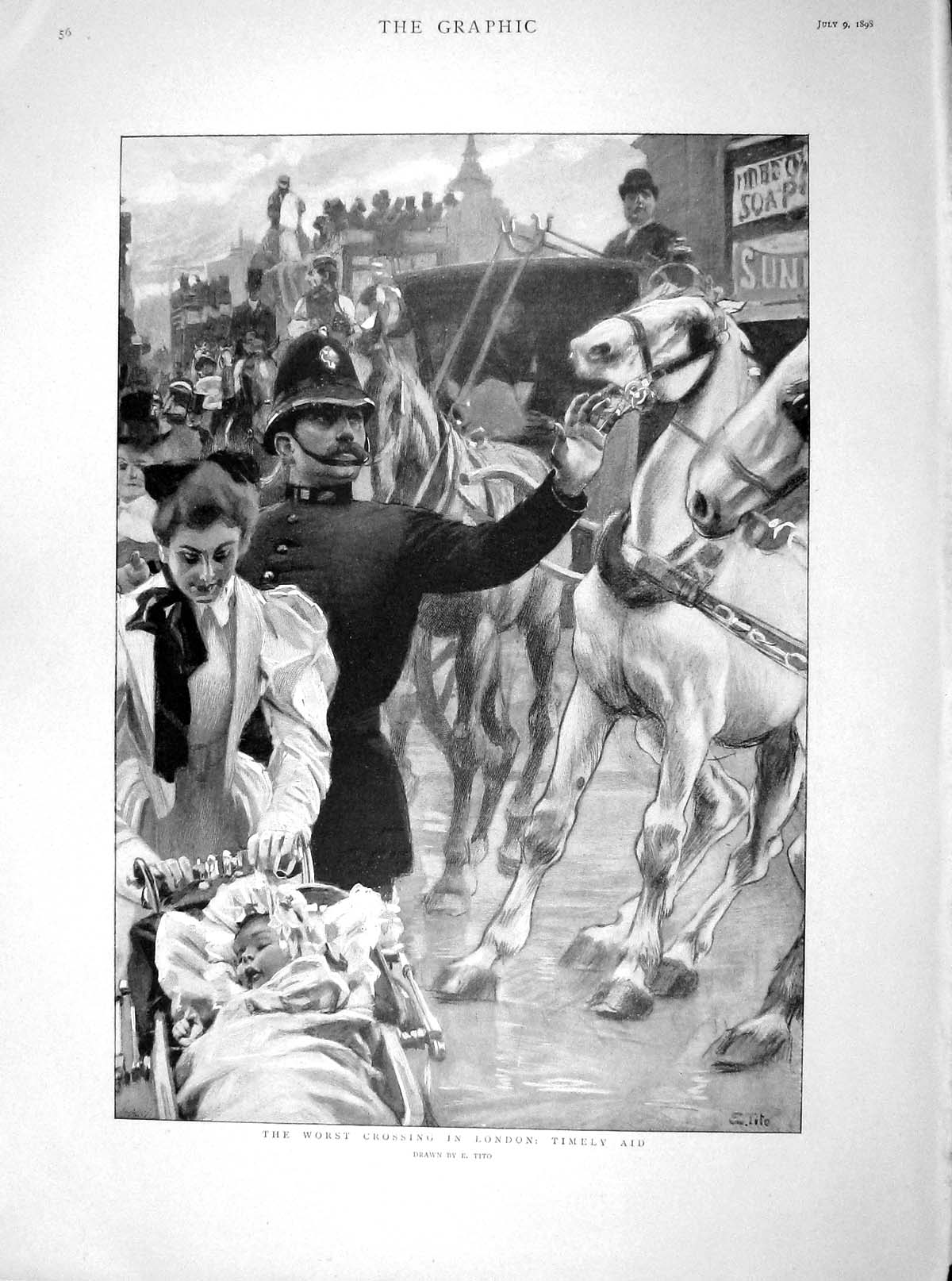 [Print 1898 Street Scene London Policeman Horses Gill Bailey 056M158 Old Original]