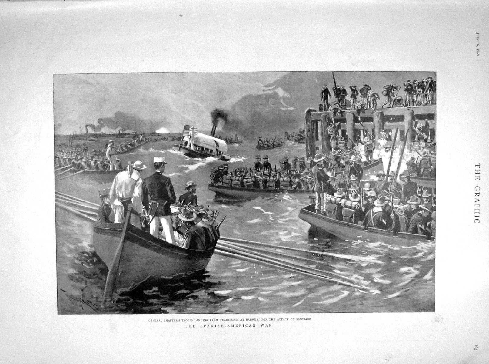[Print 1898 General Shafter Boats Baiquiri Santiago Cuba Ships 085M158 Old Original]