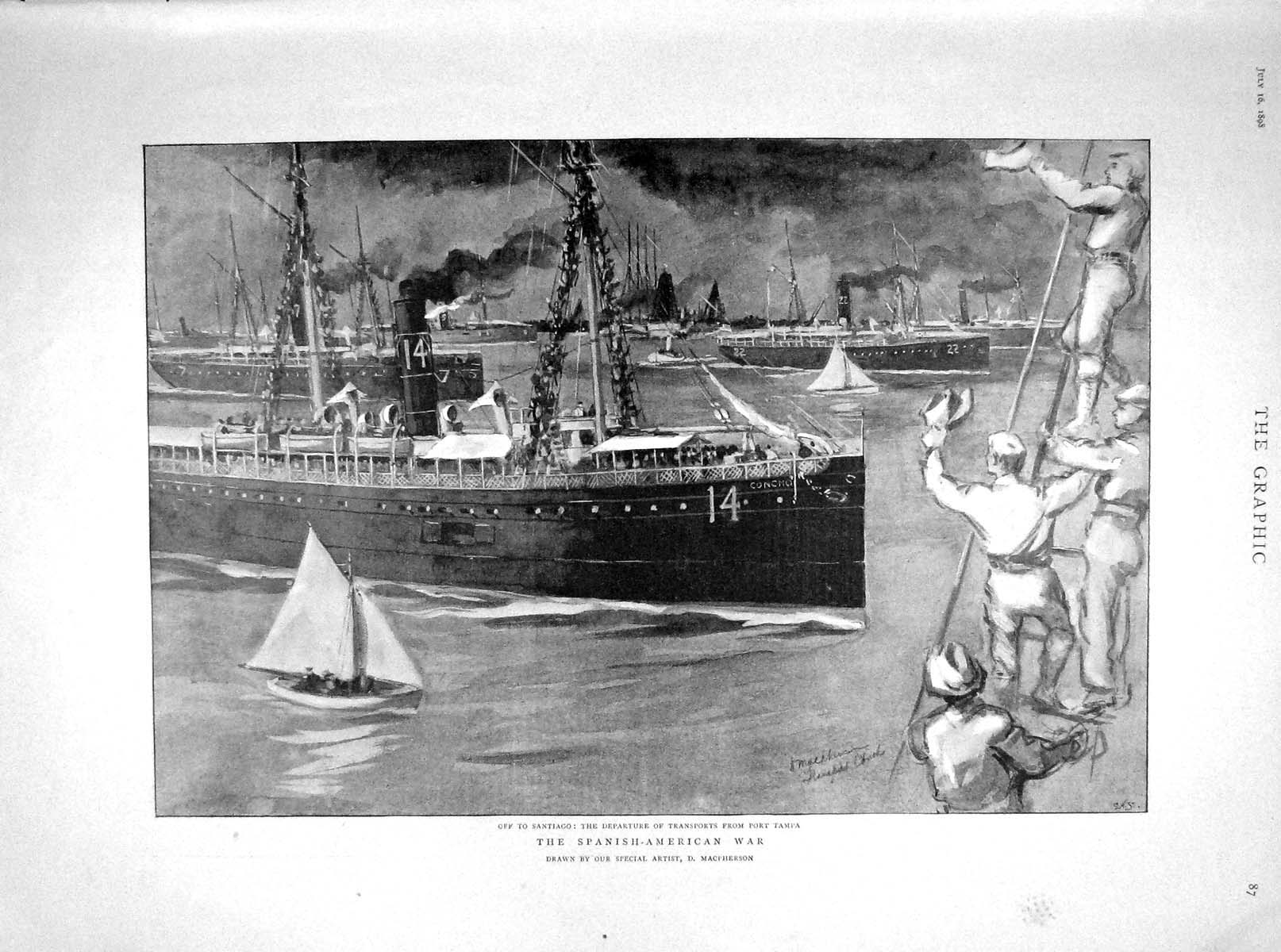 [Print 1898 Transport Ship Port Tampa War Duke York Crescent 087M158 Old Original]