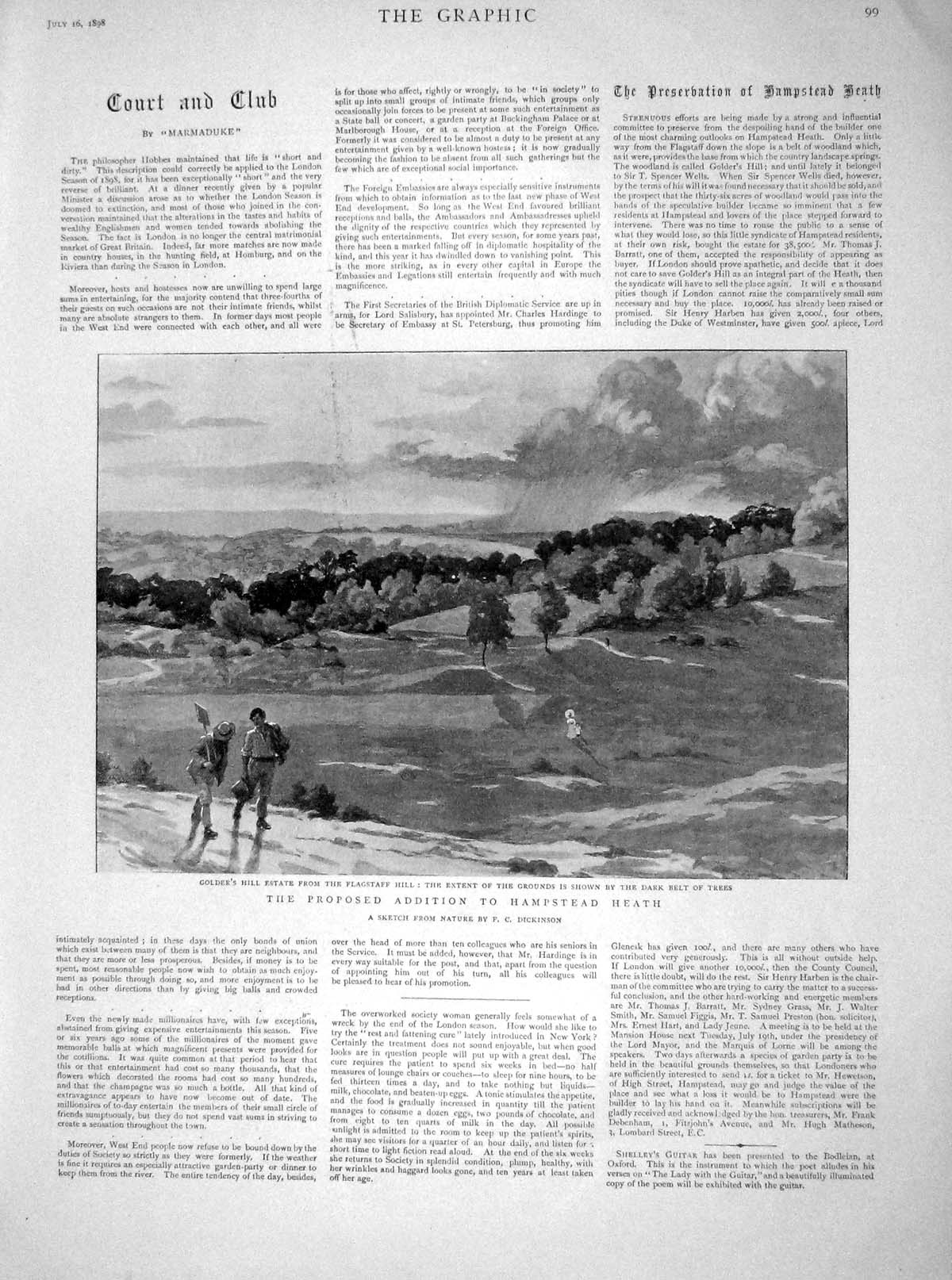 [Print 1898 Golder'S Hill Estate Flagstaff Hill Hampstead 099M158 Old Original]