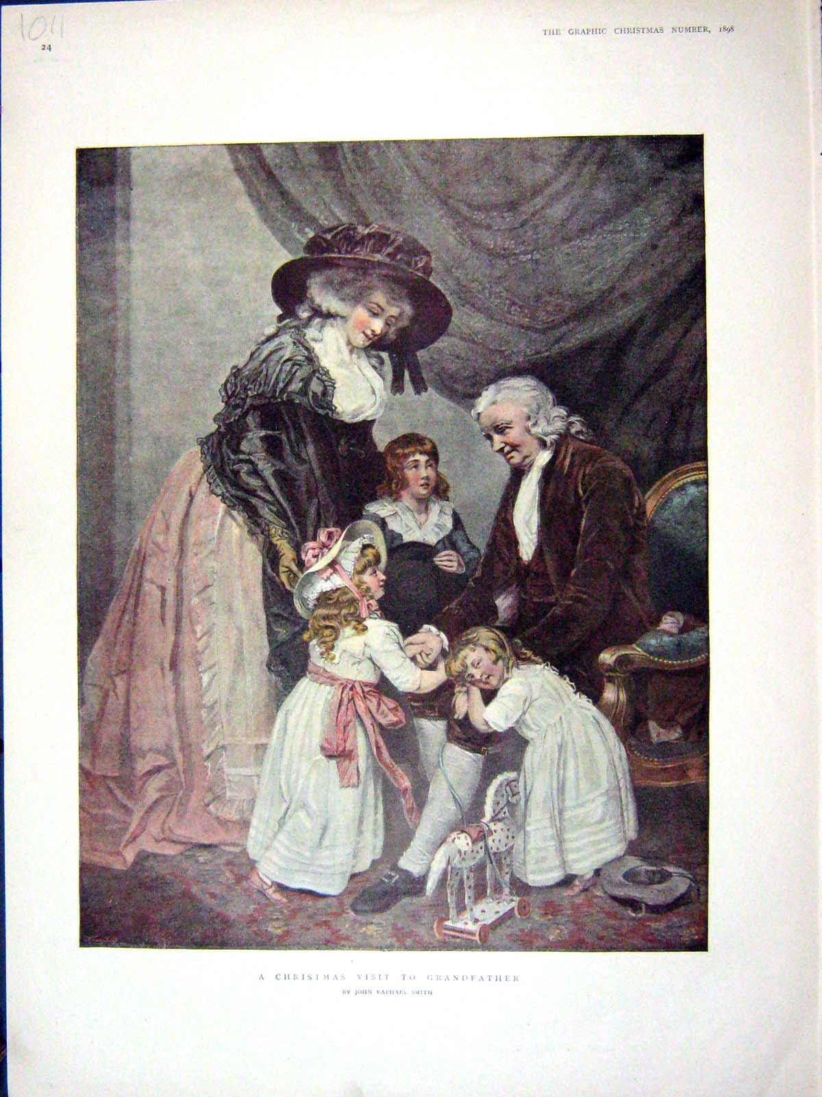 [Print 1898 Colour Children Christmas Grandfather Visit 1011M158 Old Original]