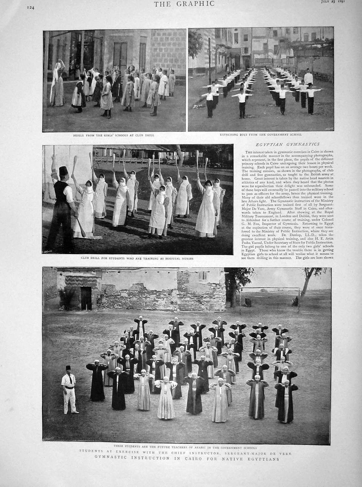 [Print 1898 Gymnasts Cairo Egyptians Nurses Monson Ship Guns 124M158 Old Original]