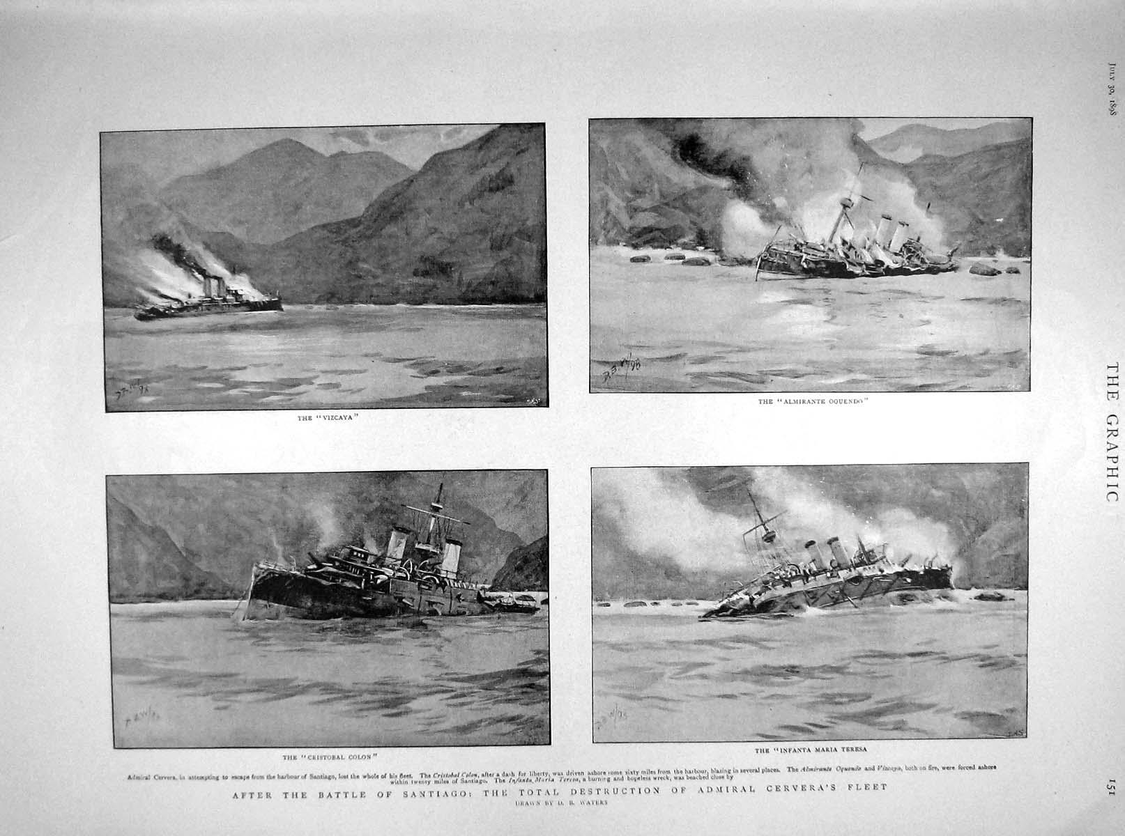 [Print 1898 Battle Santiago Cervera Ships Vizcaya Colon Mayor 151M158 Old Original]