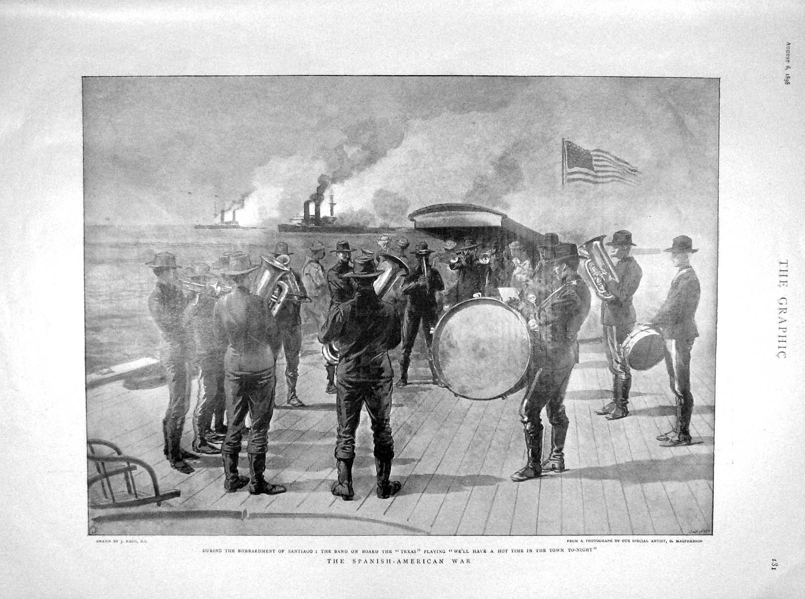 [Print 1898 Santiago Texas Ship Music Band Reid Peking Cambon 181M158 Old Original]