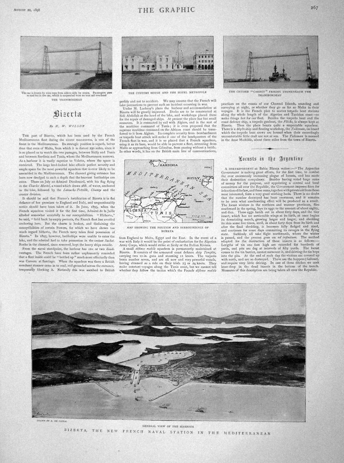 [Print 1898 Bizerta French Navy Harbour Carnot Ship Naples 267M158 Old Original]