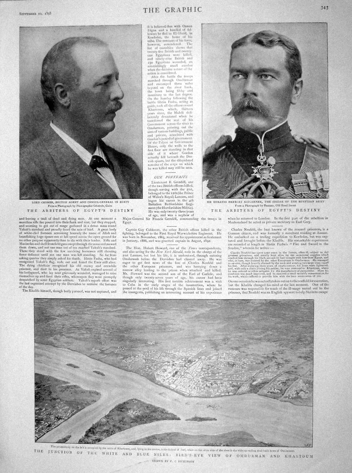 [Print 1898 Lord Cromer Kitchener Khartoum Nile Clery Soldiers 343M158 Old Original]