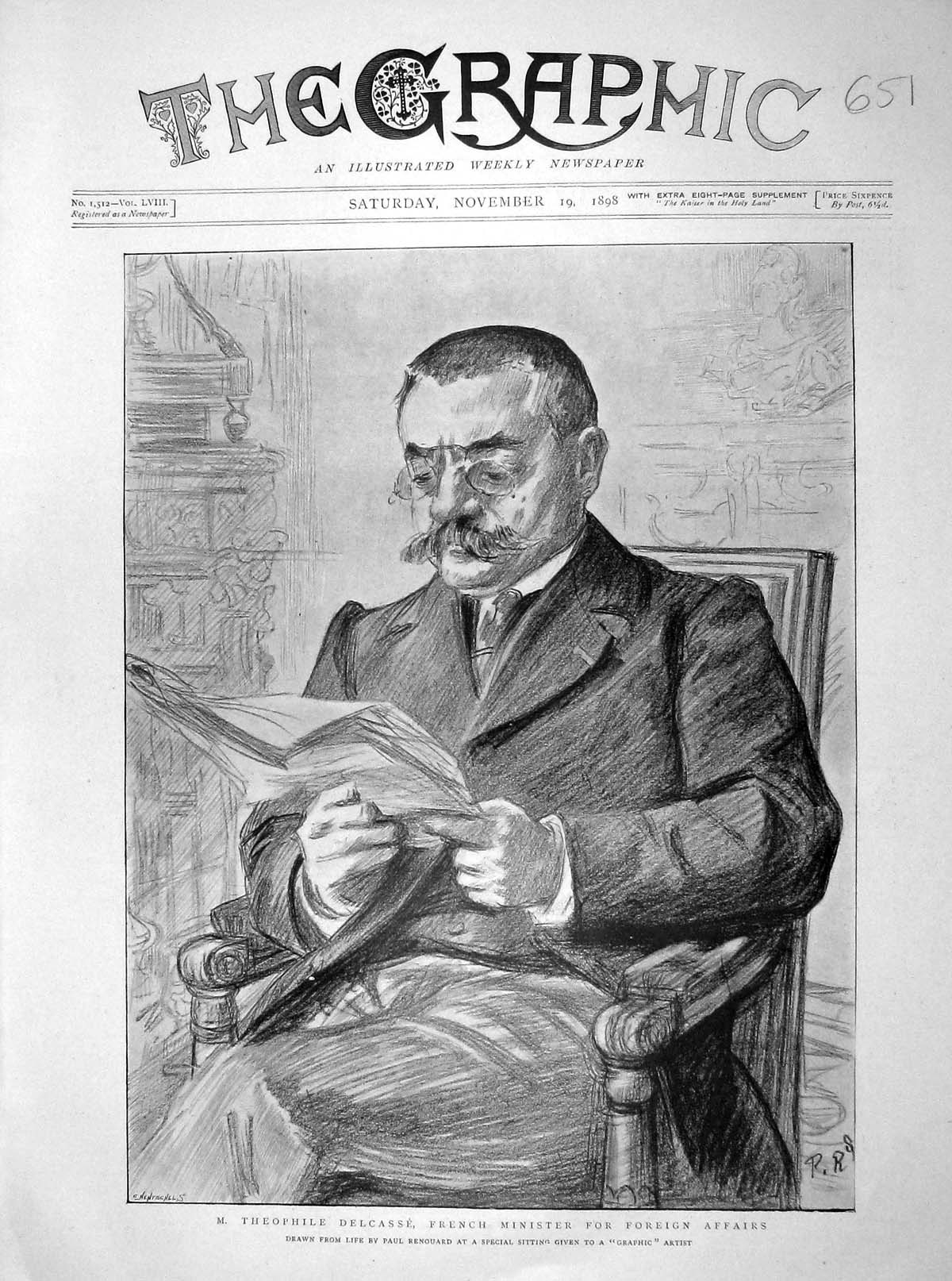 [Print 1898 Theophile Delcasse French Minister Prince Greece 651M158 Old Original]