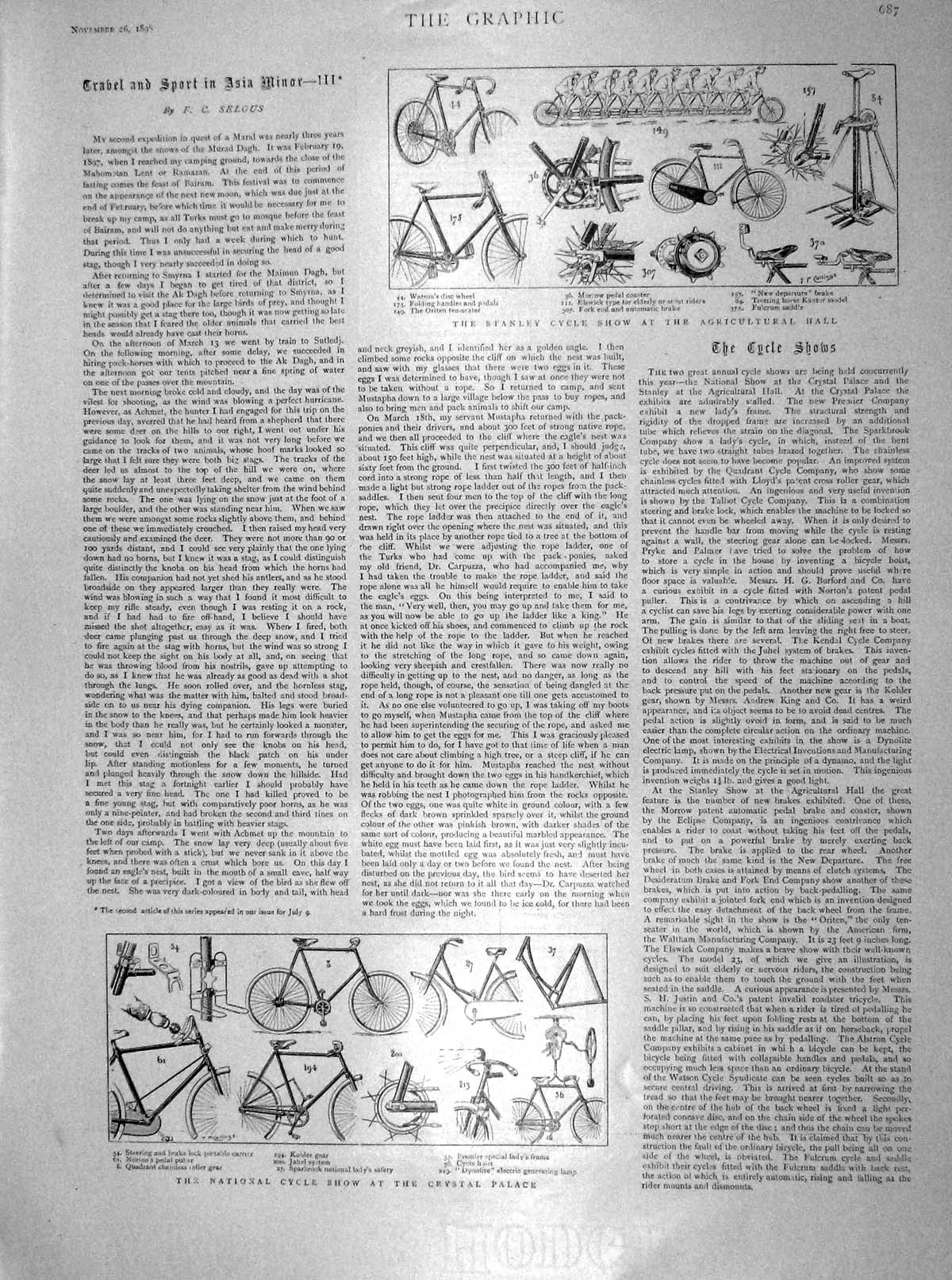 [Print 1898 Stanley National Cycle Show Agricultural Hall 687M158 Old Original]