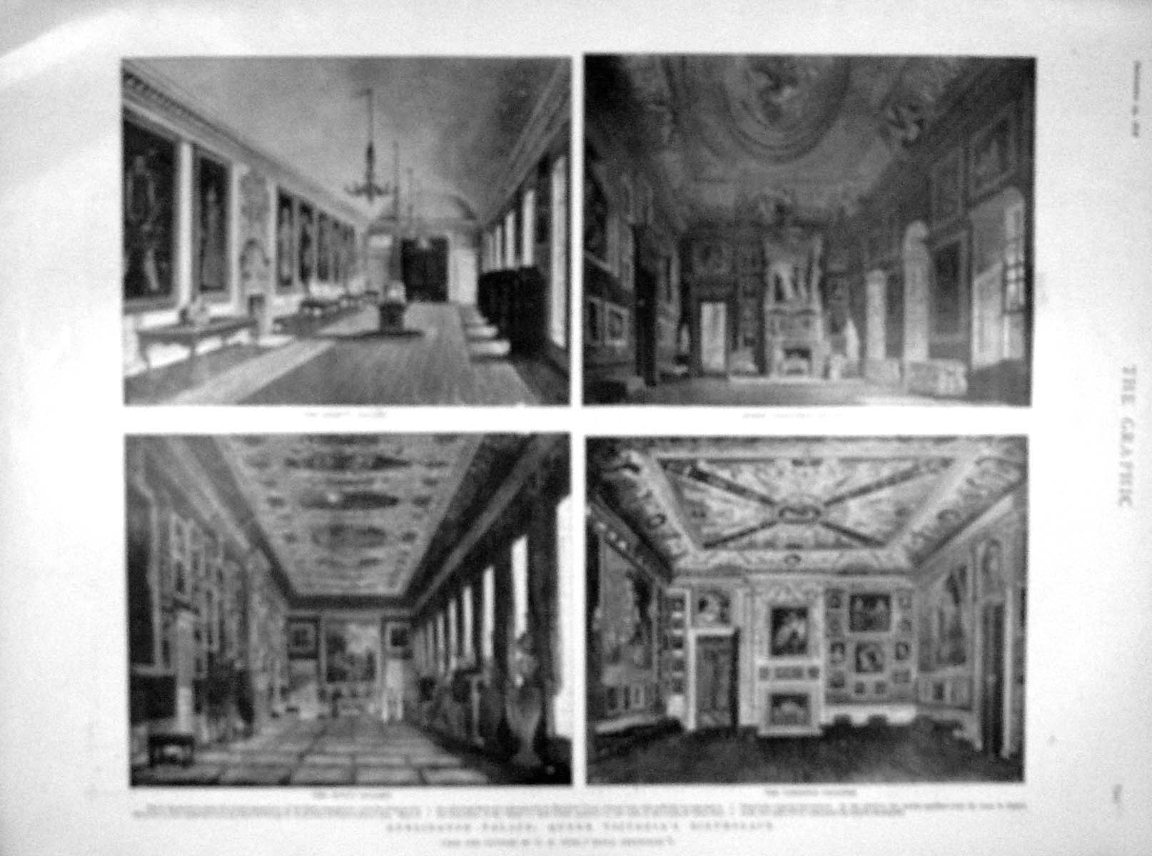 [Print 1898 Kensington Palace Queen Victoria Emperor Berlin 821M158 Old Original]