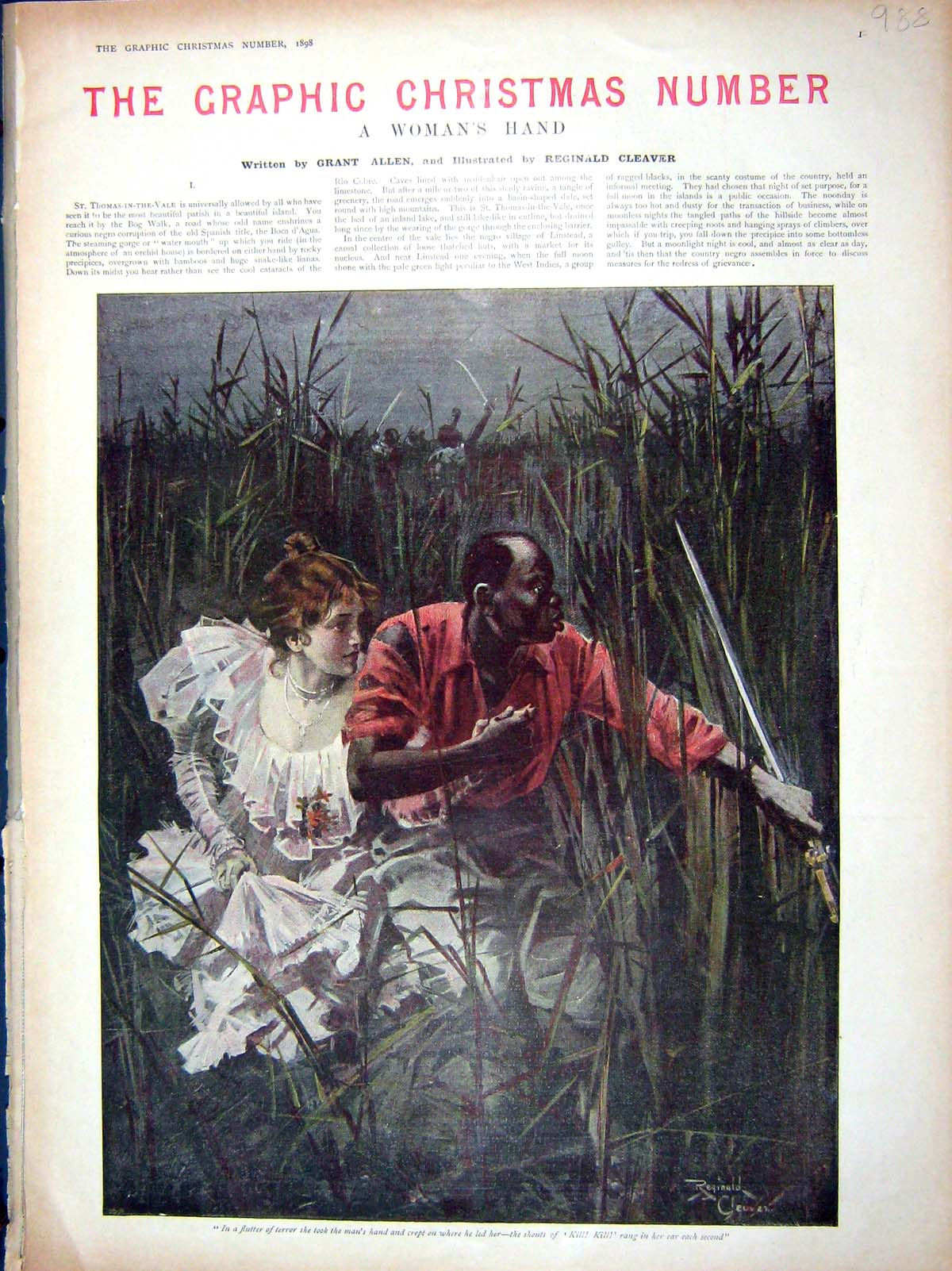 [Print 1898 Aunt Keziah Elopement Native Man Woman Escape 988M158 Old Original]