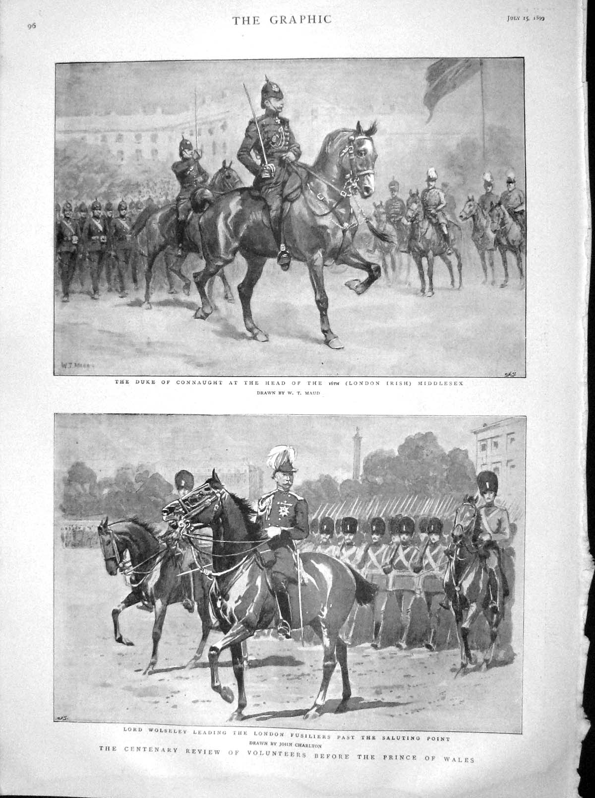 [Print 1899 Duke Connaught Wolseley Prince Wales Queen Wales 096M160 Old Original]