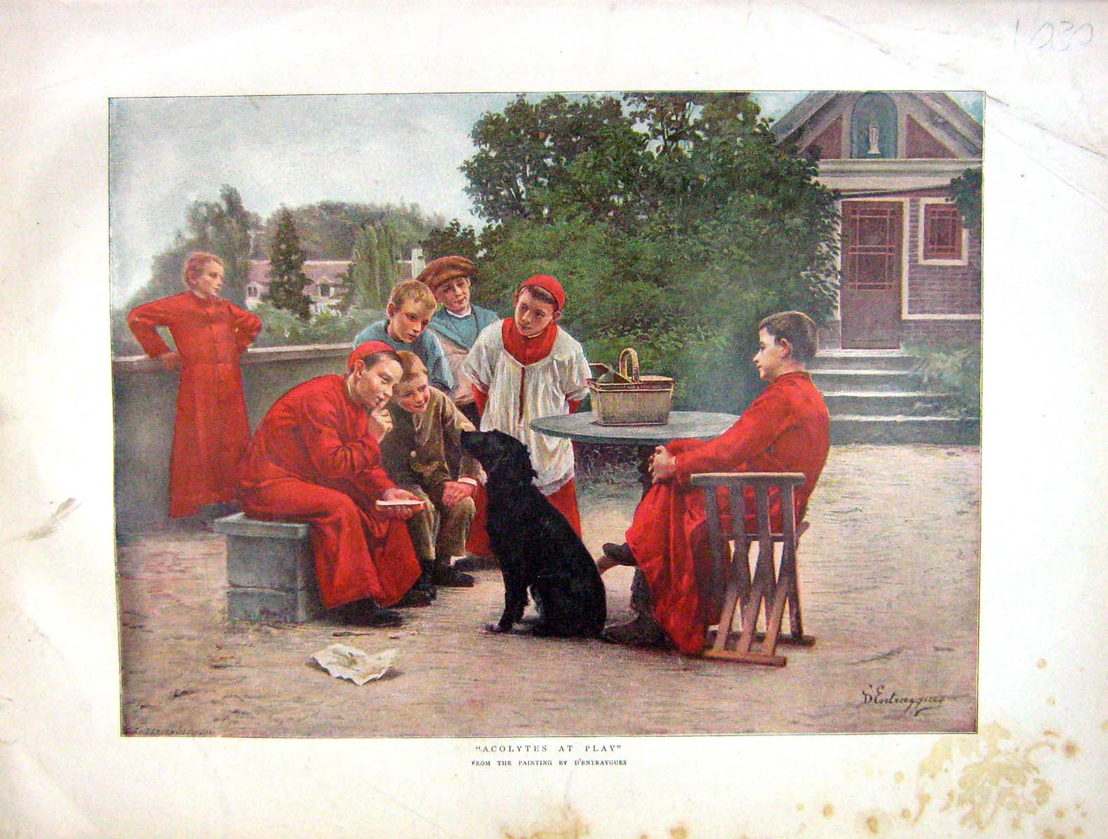 [Print 1899 Colour Scene Acolytes Play Young Boys Dog 1030M160 Old Original]