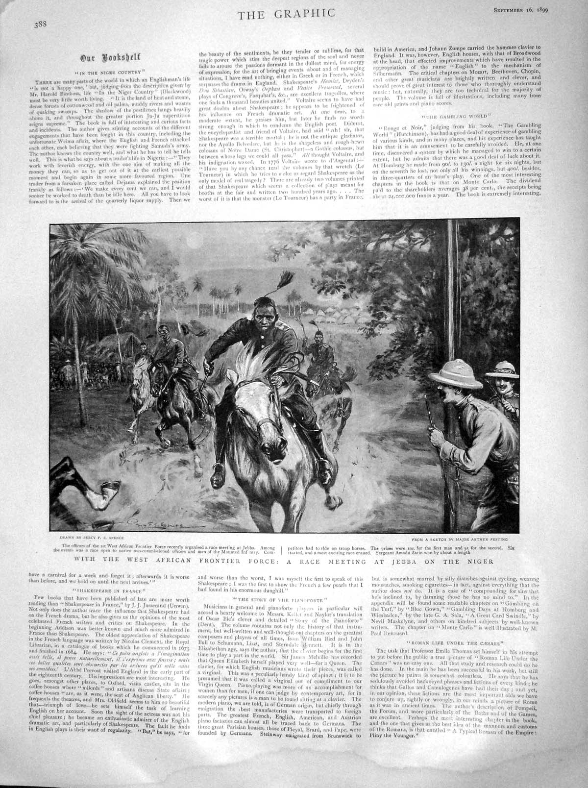 [Print 1899 West African Frontier Force Horse Race Jebba Niger 388M160 Old Original]