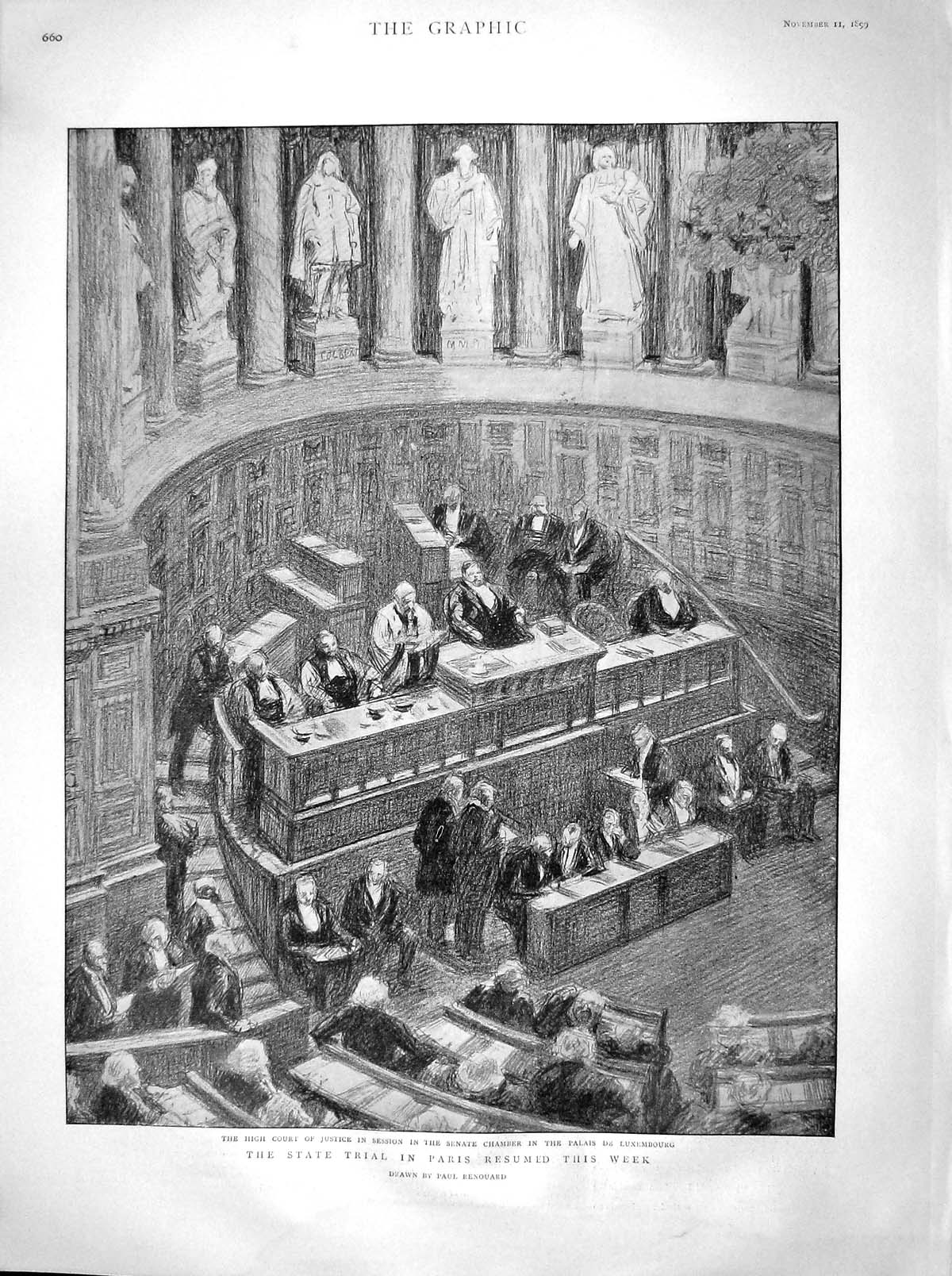 [Print 1899 High Court Justice Senate Chamber Paris Luxembourg 660M160 Old Original]