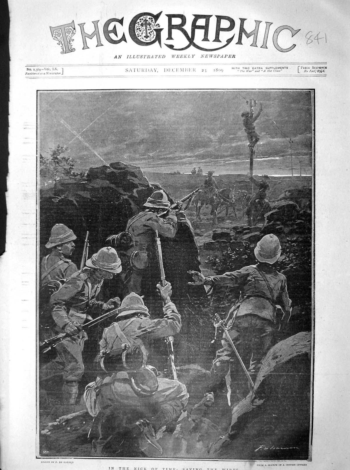 [Print 1899 War Soldiers Saving Electric Wires Telegraph Pole 841M160 Old Original]