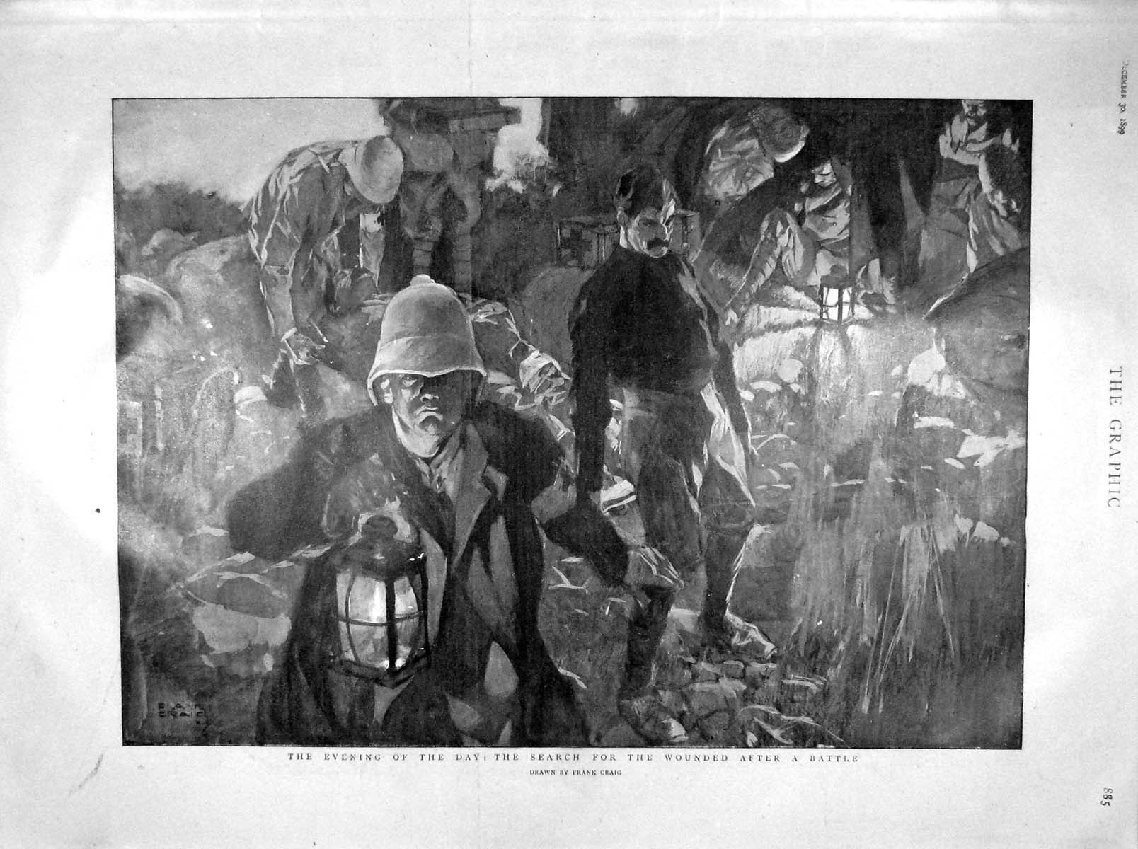 [Print 1899 War Searching Wounded Battle Goldier Hughes Ray 885M160 Old Original]