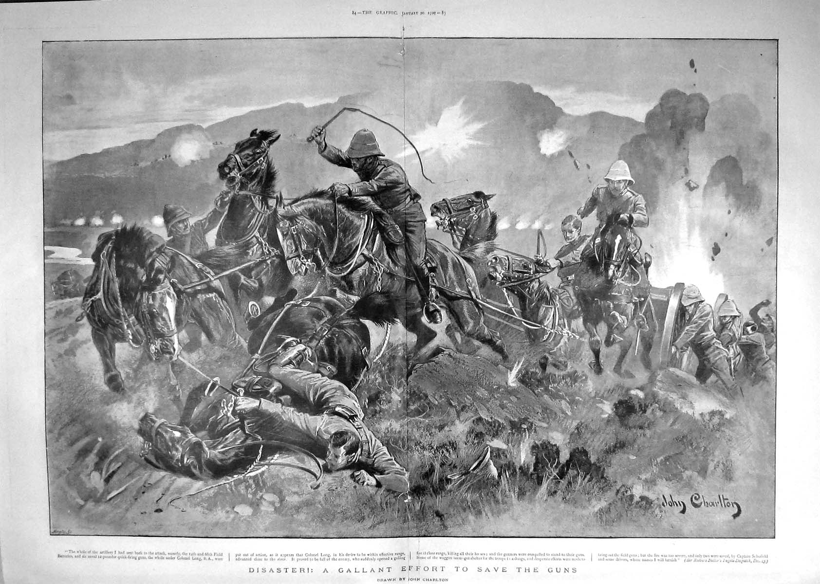 Print 1900 War Colonel Long Soldiers Horses Field Batteries 083Tm161 Old Original