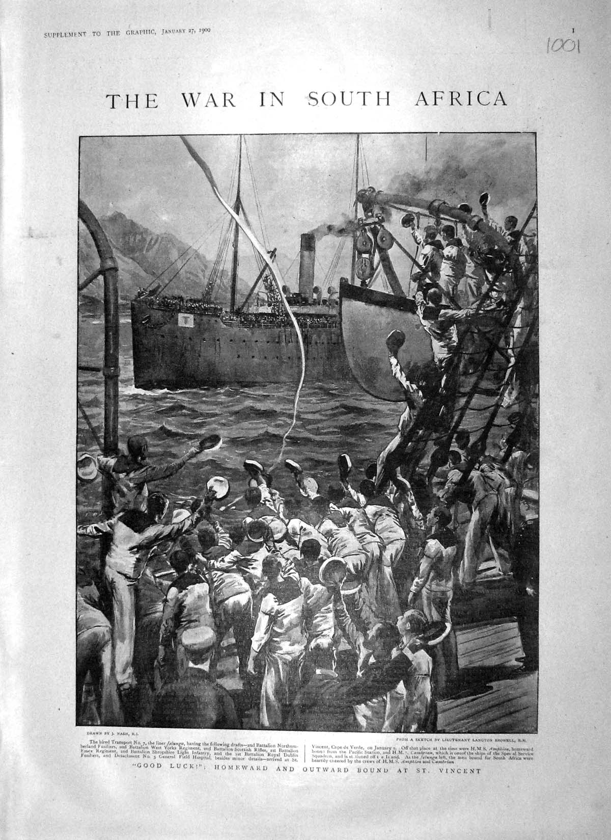 [Print 1900 War Africa Vincent Ship Jelunga Amphion Maccormac 1001M161 Old Original]